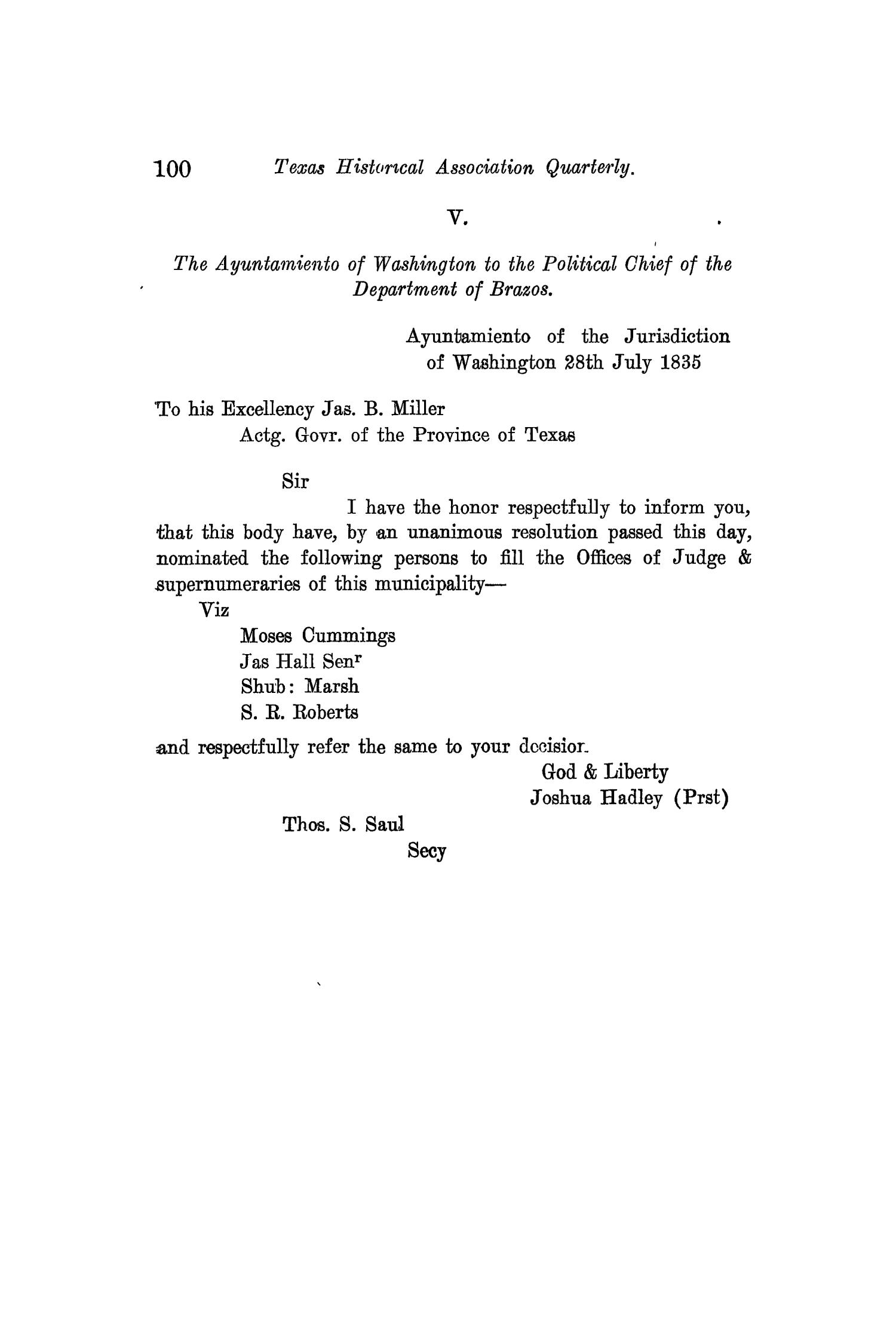 The Quarterly of the Texas State Historical Association, Volume 10, July 1906 - April, 1907                                                                                                      100