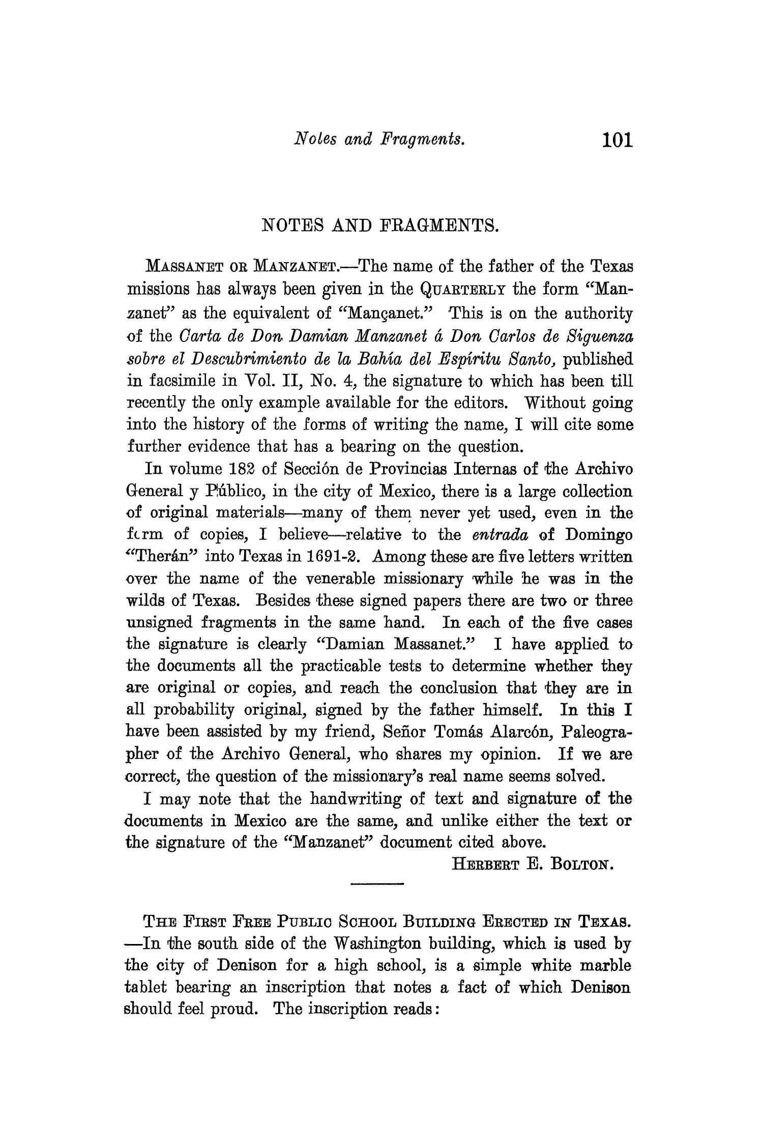 The Quarterly of the Texas State Historical Association, Volume 10, July 1906 - April, 1907                                                                                                      101