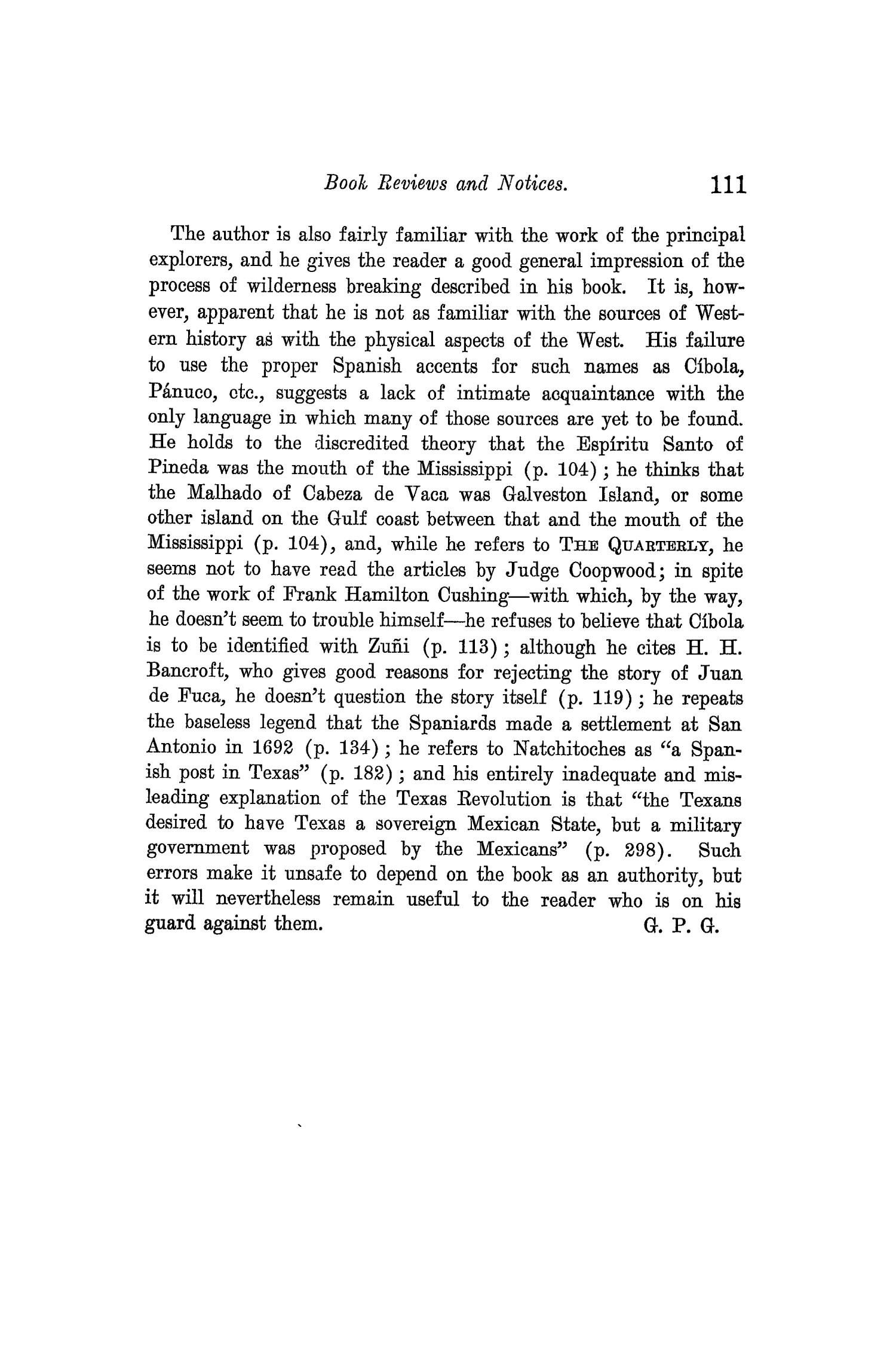 The Quarterly of the Texas State Historical Association, Volume 10, July 1906 - April, 1907                                                                                                      111