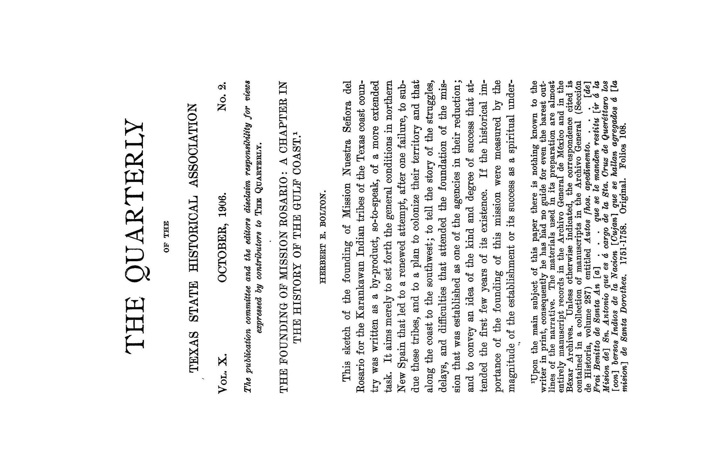 The Quarterly of the Texas State Historical Association, Volume 10, July 1906 - April, 1907                                                                                                      113