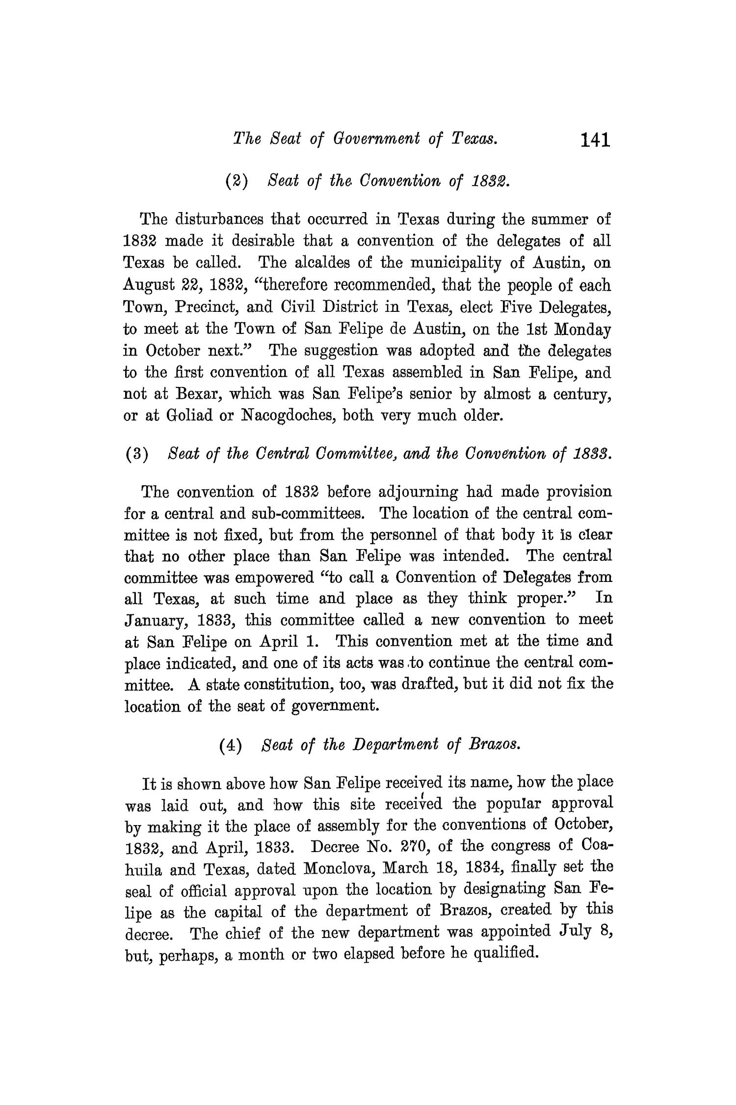 The Quarterly of the Texas State Historical Association, Volume 10, July 1906 - April, 1907                                                                                                      141