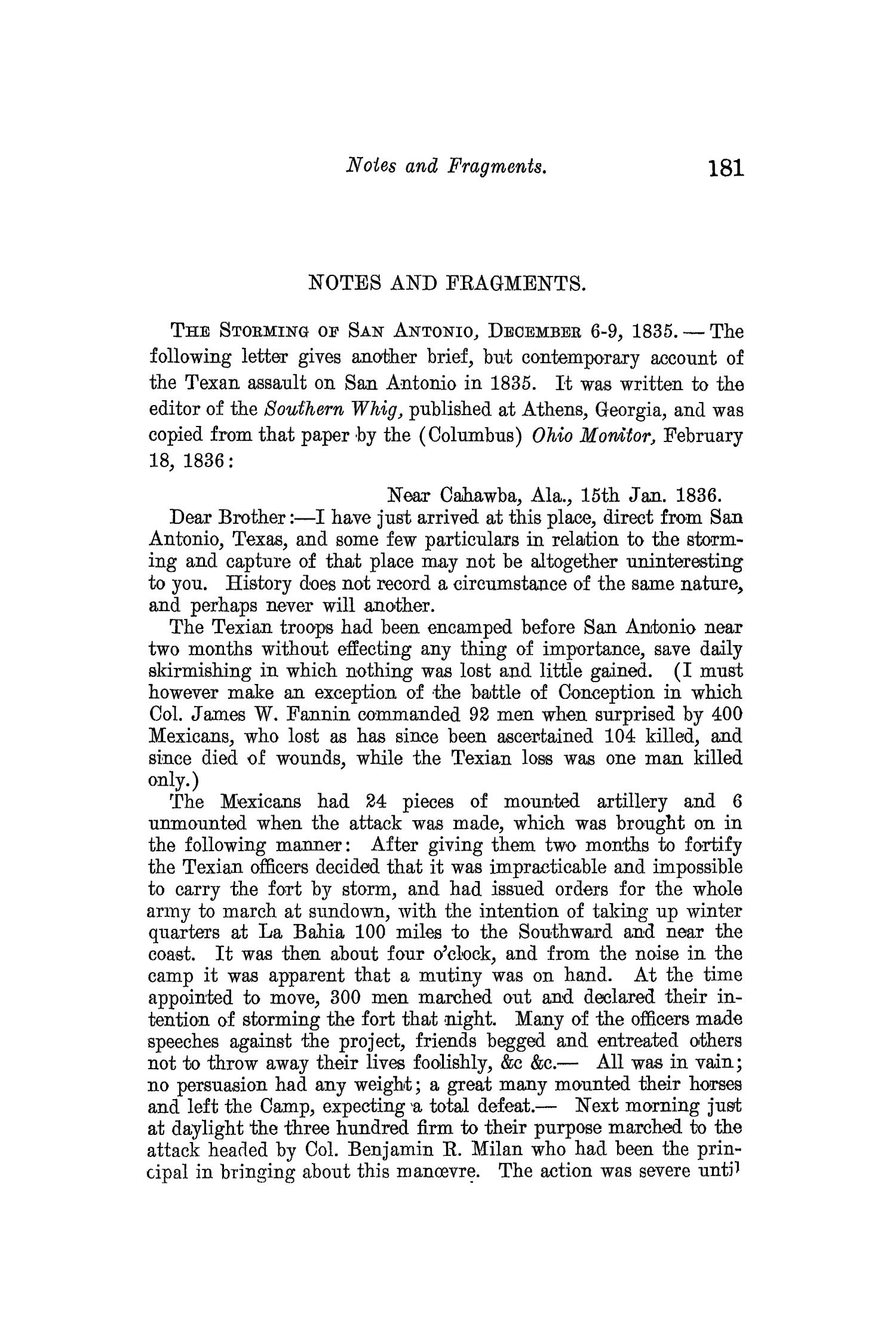 The Quarterly of the Texas State Historical Association, Volume 10, July 1906 - April, 1907                                                                                                      181