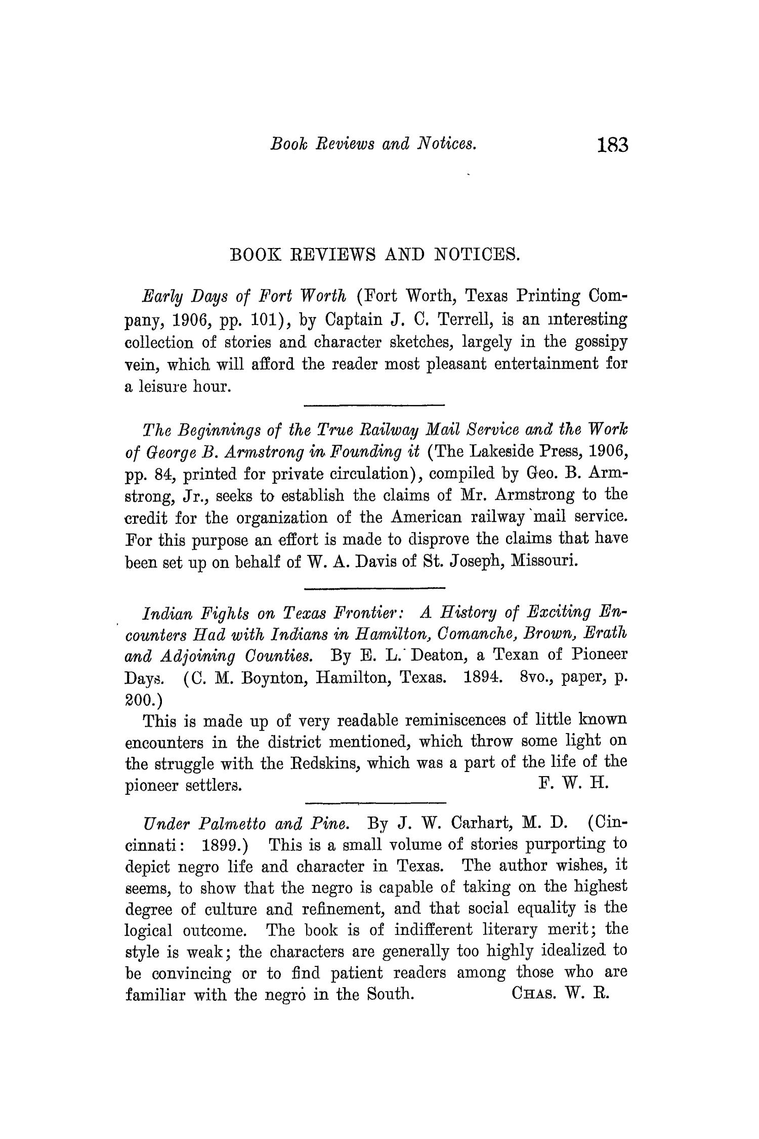 The Quarterly of the Texas State Historical Association, Volume 10, July 1906 - April, 1907                                                                                                      183