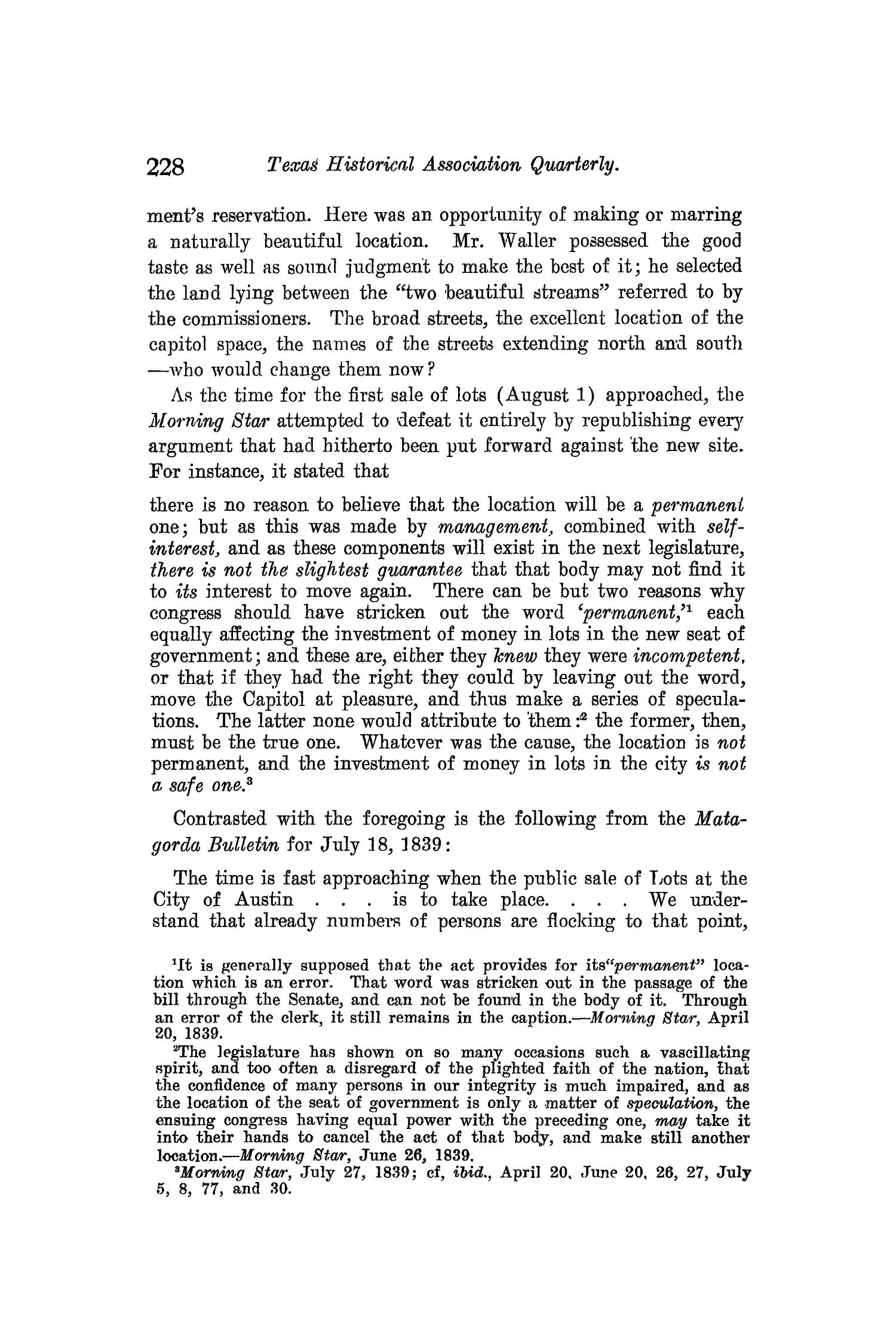 The Quarterly of the Texas State Historical Association, Volume 10, July 1906 - April, 1907                                                                                                      228