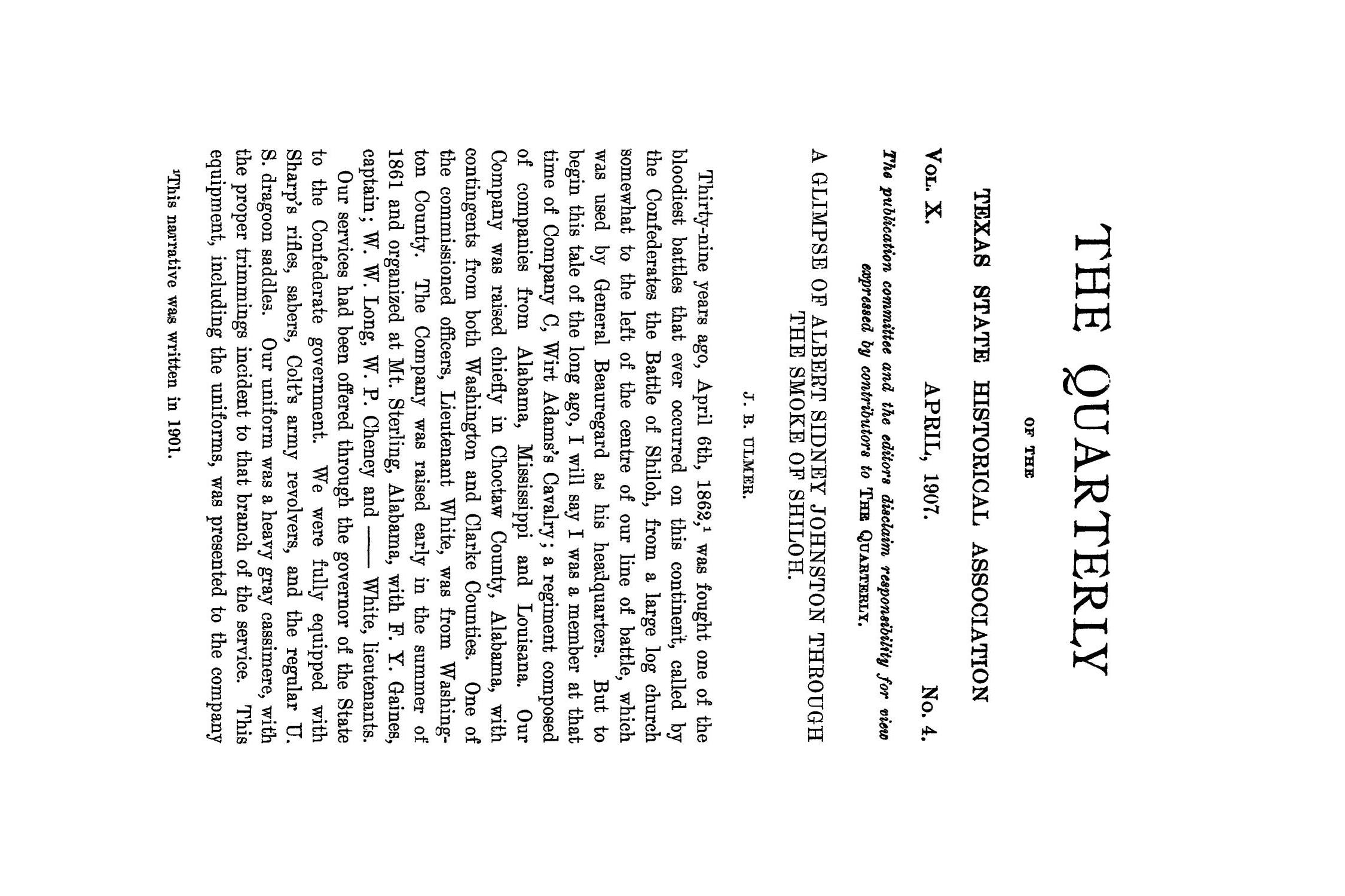 The Quarterly of the Texas State Historical Association, Volume 10, July 1906 - April, 1907                                                                                                      285
