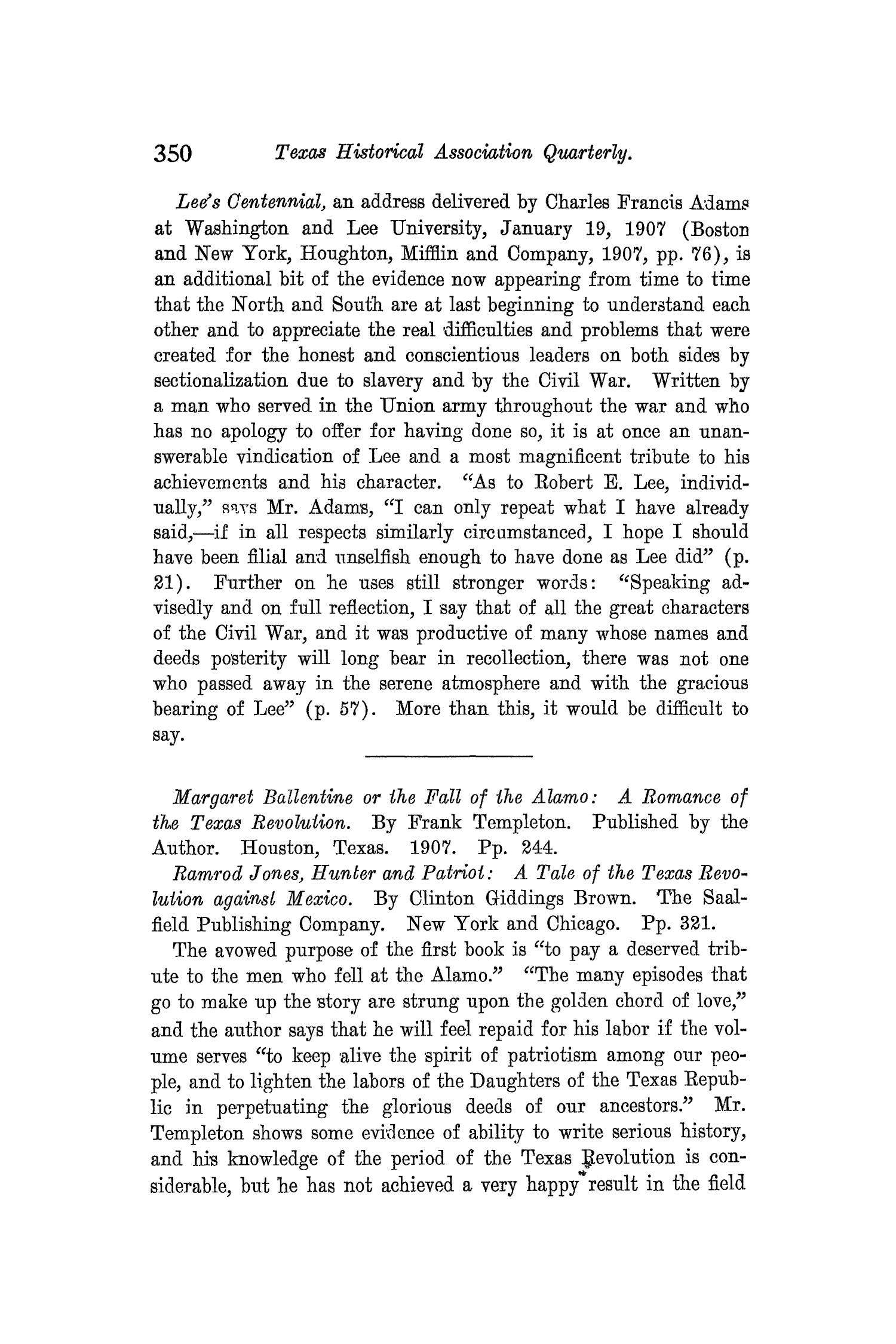 The Quarterly of the Texas State Historical Association, Volume 10, July 1906 - April, 1907                                                                                                      350