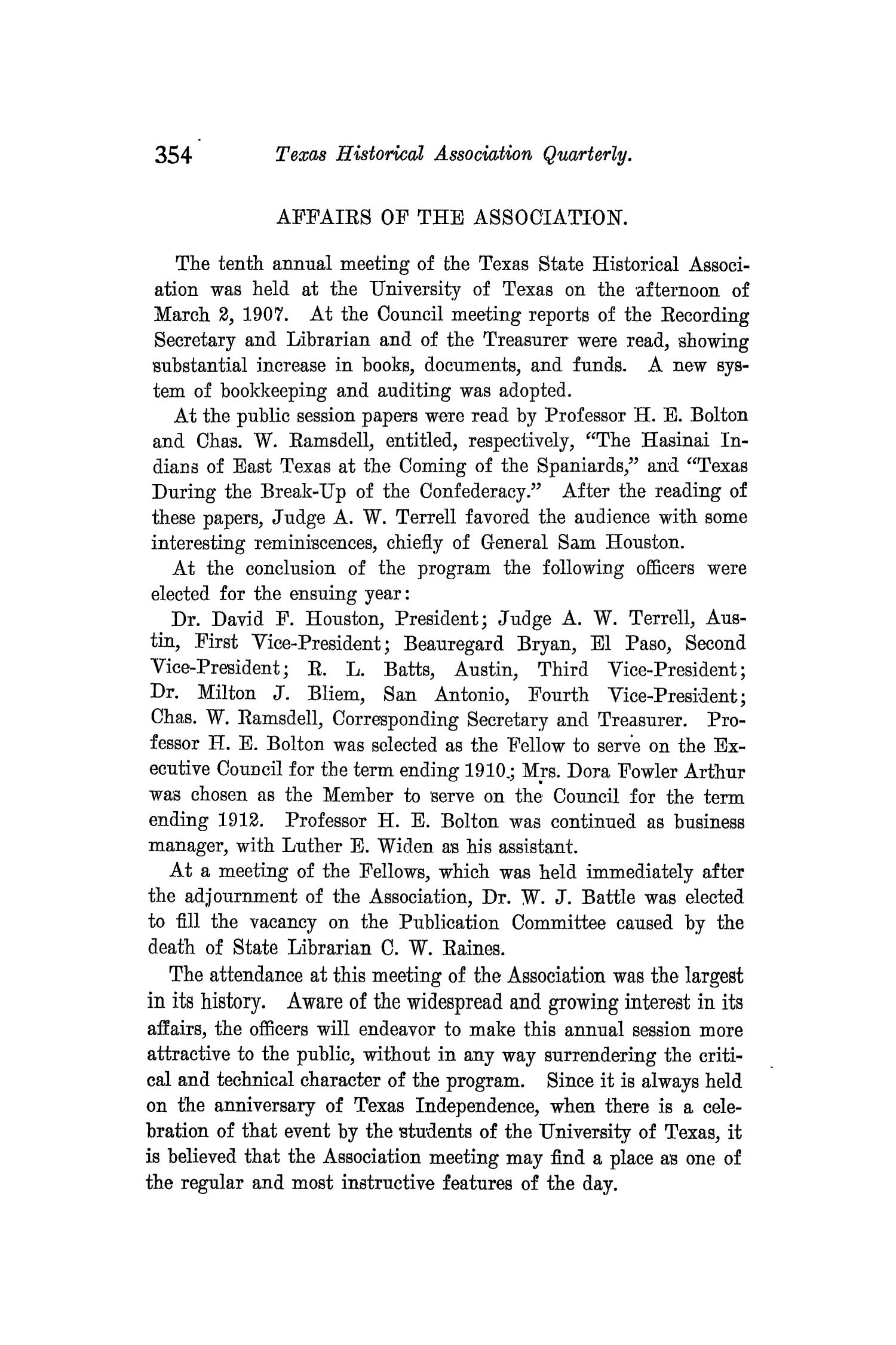 The Quarterly of the Texas State Historical Association, Volume 10, July 1906 - April, 1907                                                                                                      354