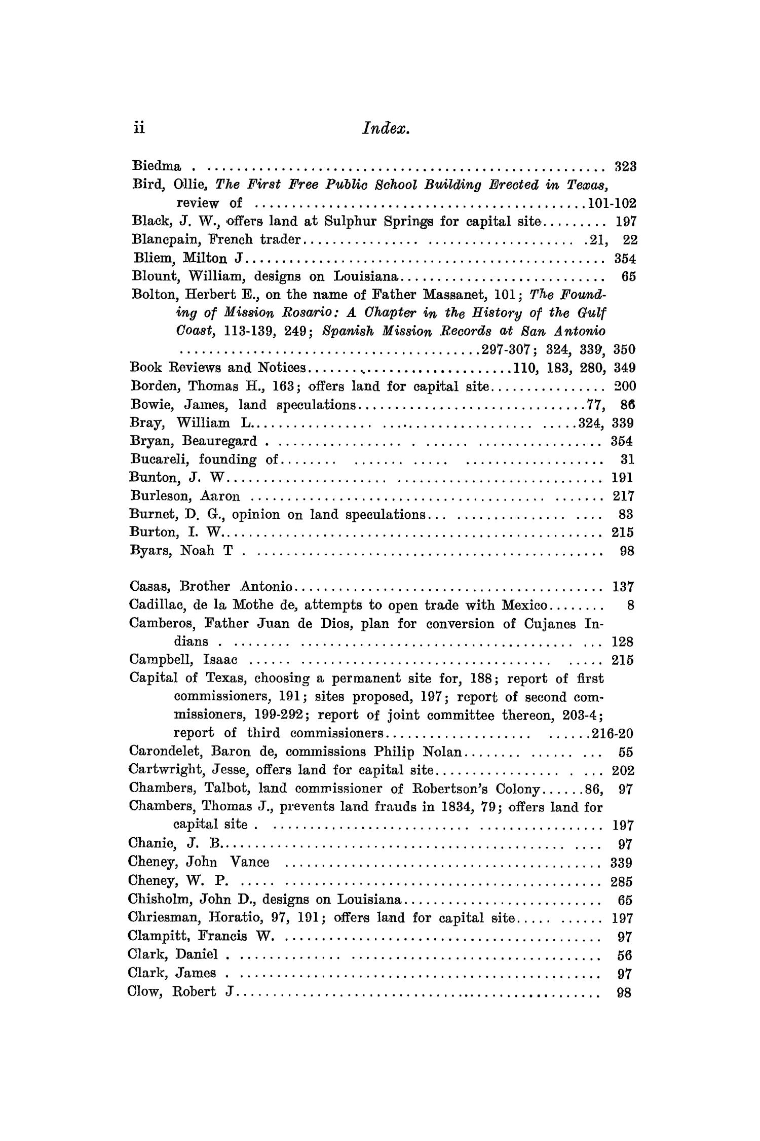 The Quarterly of the Texas State Historical Association, Volume 10, July 1906 - April, 1907                                                                                                      ii