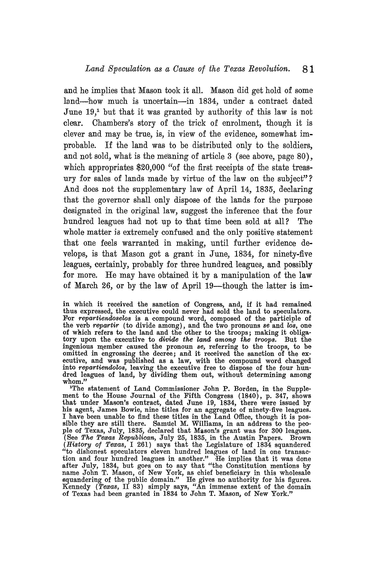 The Quarterly of the Texas State Historical Association, Volume 10, July 1906 - April, 1907                                                                                                      81