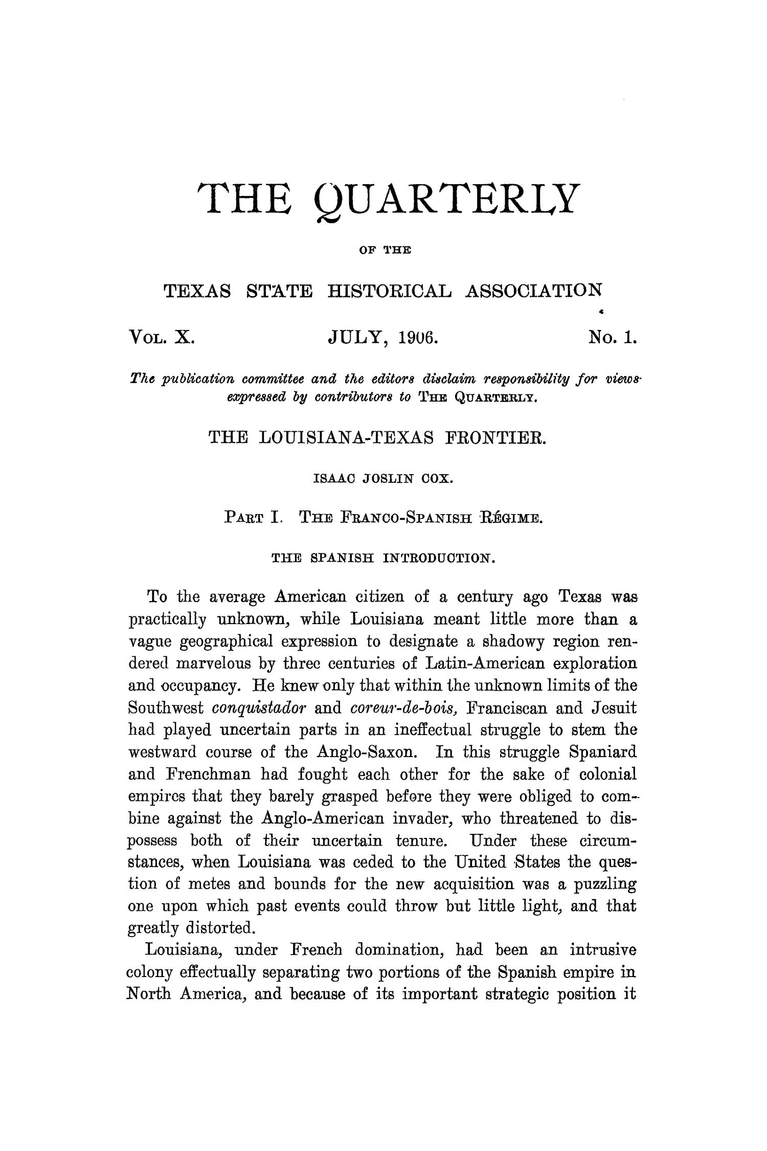 The Quarterly of the Texas State Historical Association, Volume 10, July 1906 - April, 1907                                                                                                      1