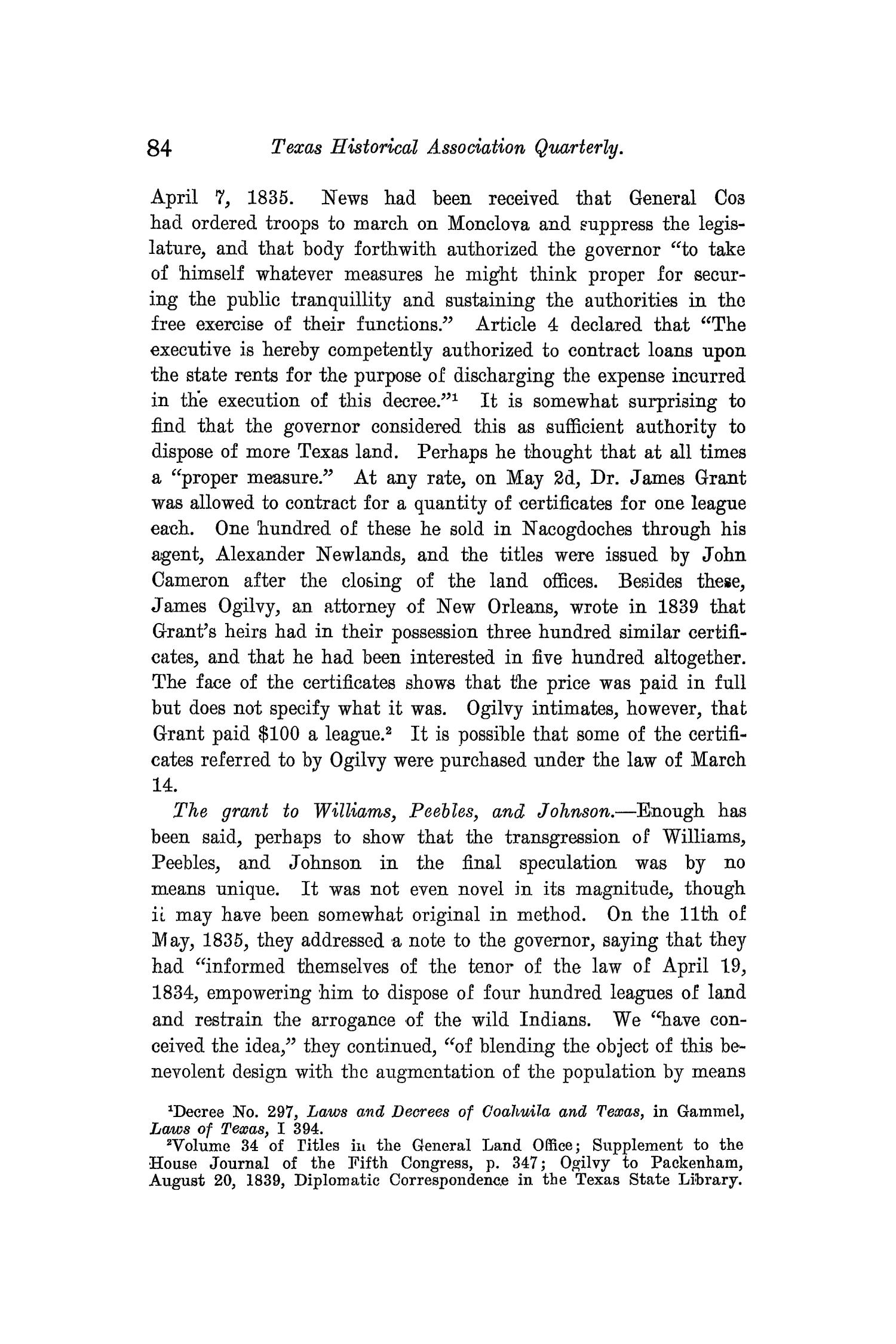 The Quarterly of the Texas State Historical Association, Volume 10, July 1906 - April, 1907                                                                                                      84