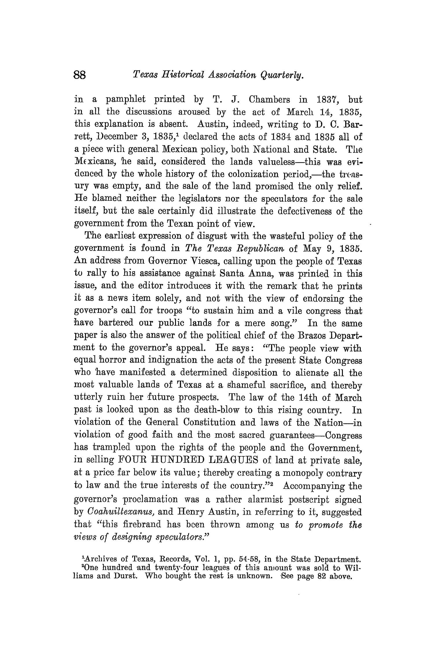 The Quarterly of the Texas State Historical Association, Volume 10, July 1906 - April, 1907                                                                                                      88