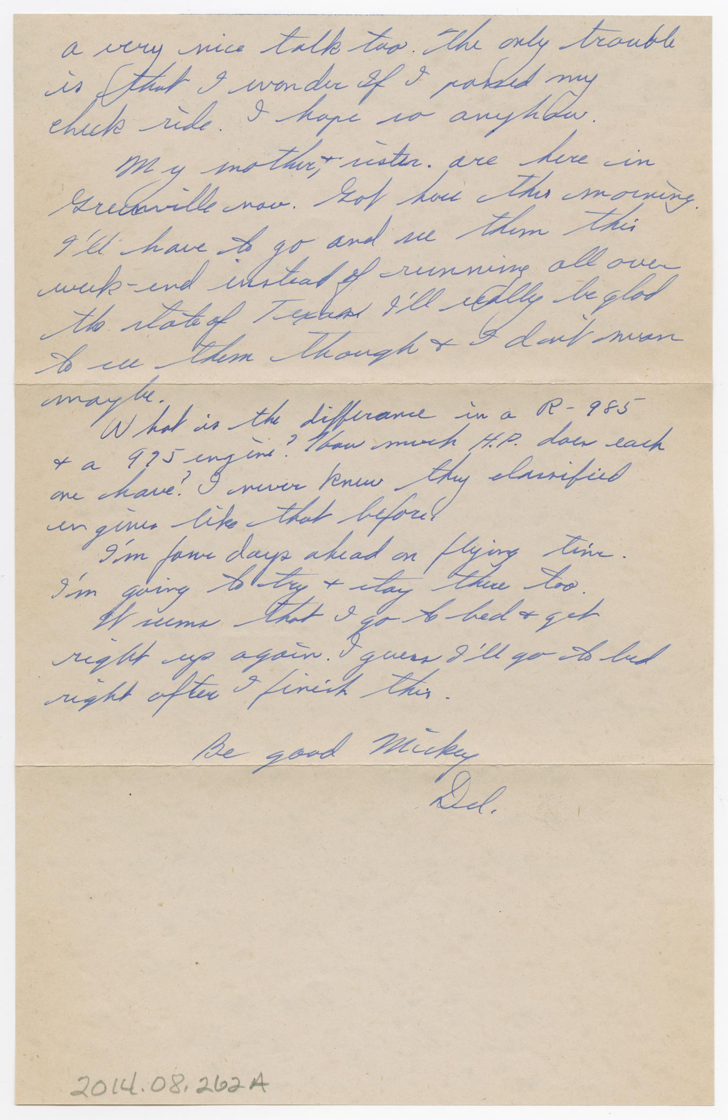 [Letter from D. L. Werner to Mickey McLernon, February 11, 1944]                                                                                                      [Sequence #]: 2 of 4