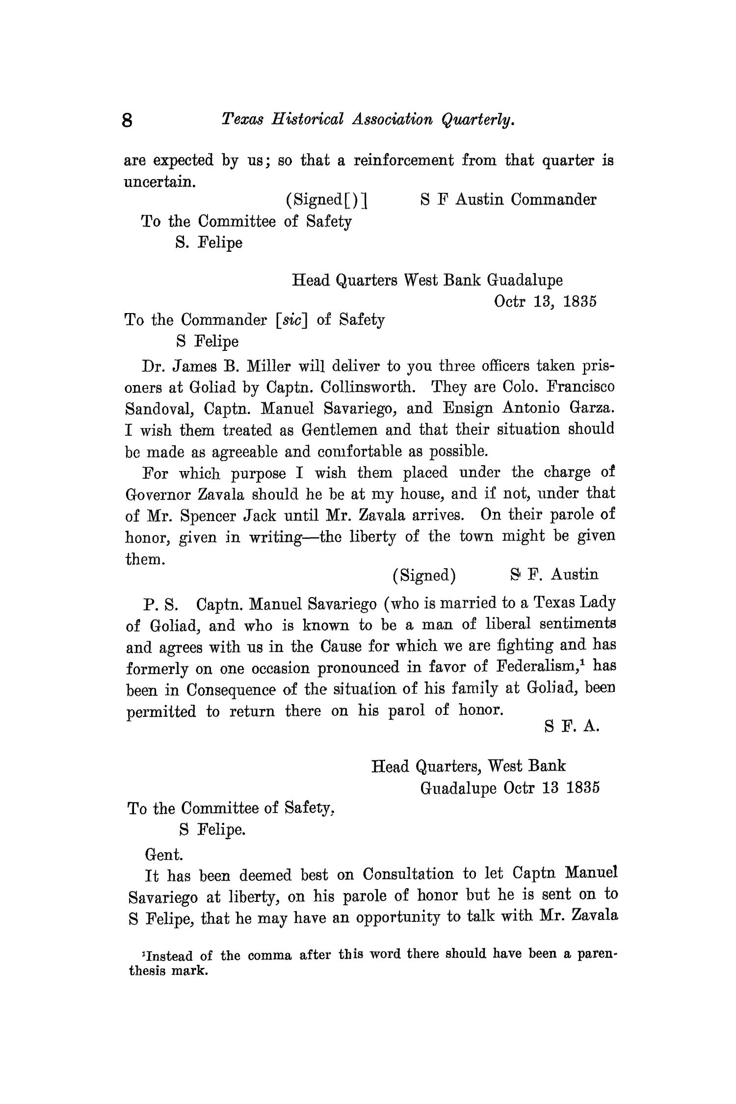 The Quarterly of the Texas State Historical Association, Volume 11, July 1907 - April, 1908                                                                                                      8