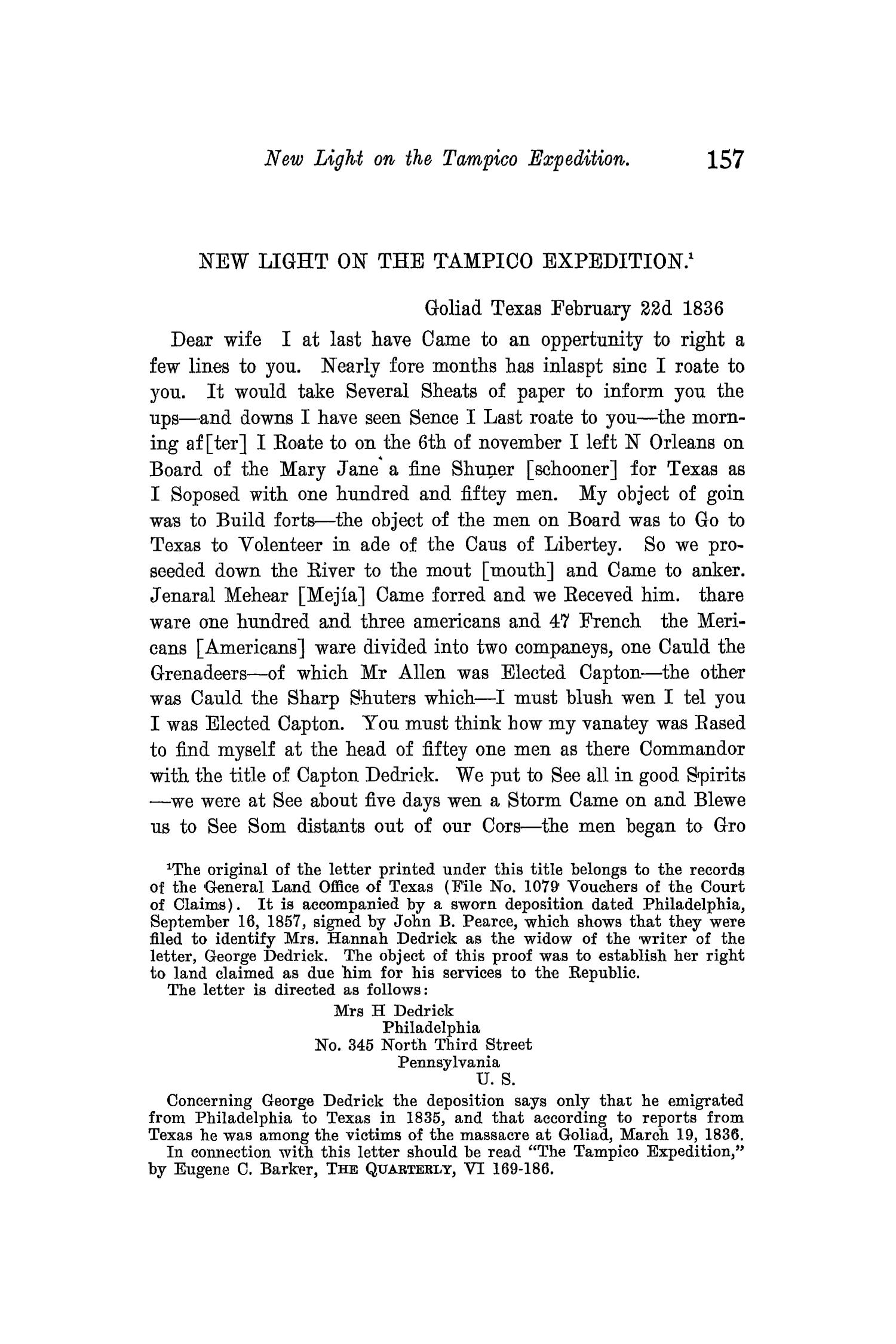 The Quarterly of the Texas State Historical Association, Volume 11, July 1907 - April, 1908                                                                                                      157