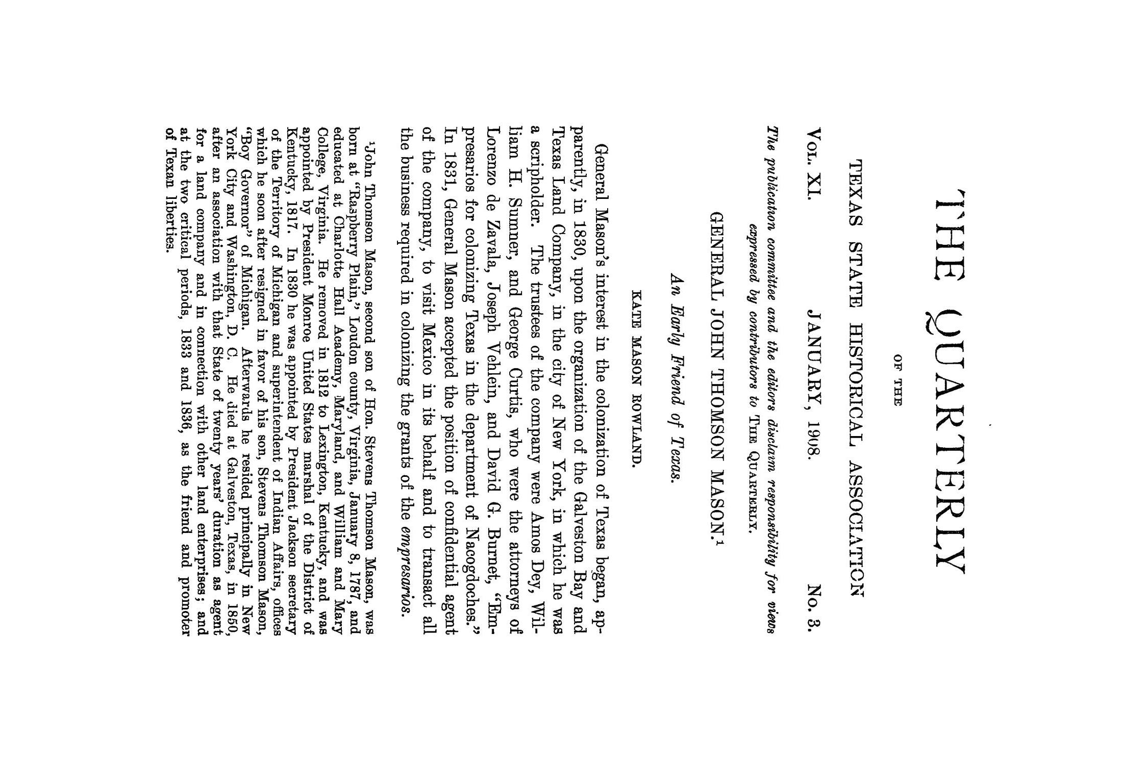 The Quarterly of the Texas State Historical Association, Volume 11, July 1907 - April, 1908                                                                                                      163