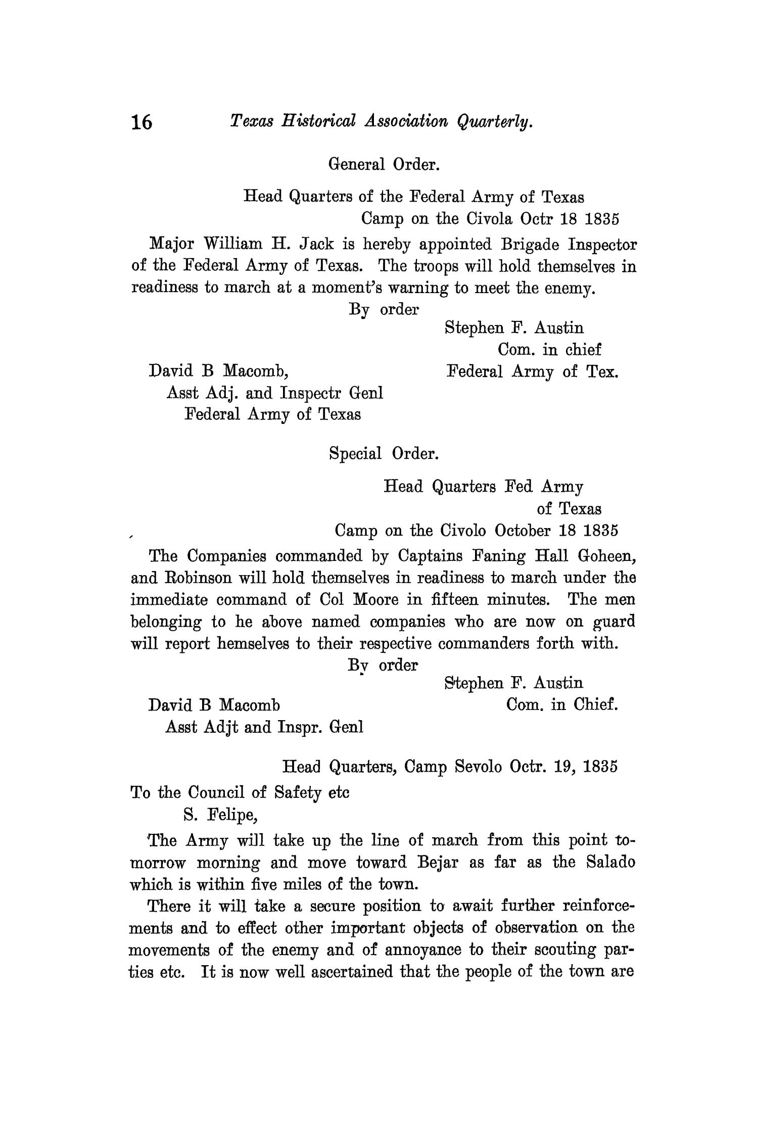 The Quarterly of the Texas State Historical Association, Volume 11, July 1907 - April, 1908                                                                                                      16