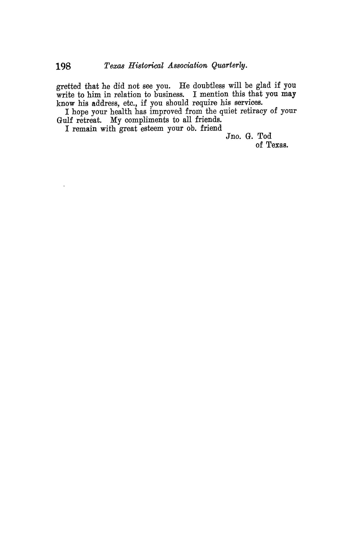 The Quarterly of the Texas State Historical Association, Volume 11, July 1907 - April, 1908                                                                                                      198