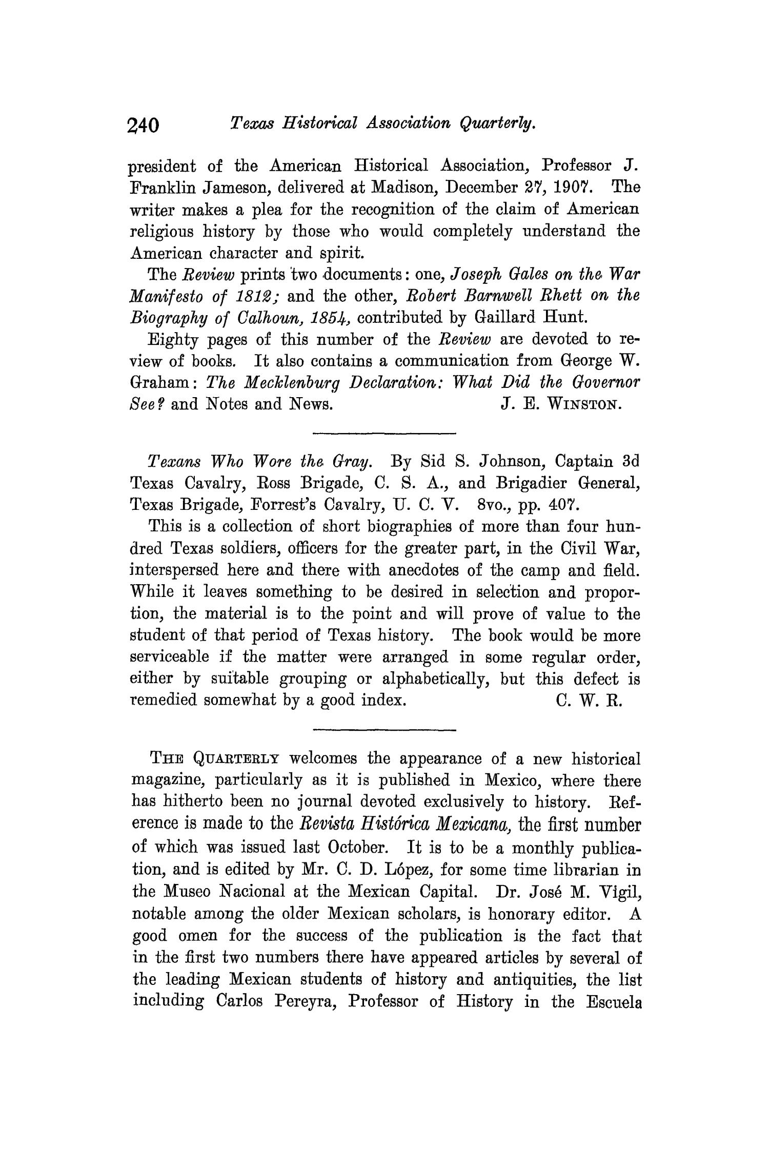 The Quarterly of the Texas State Historical Association, Volume 11, July 1907 - April, 1908                                                                                                      240