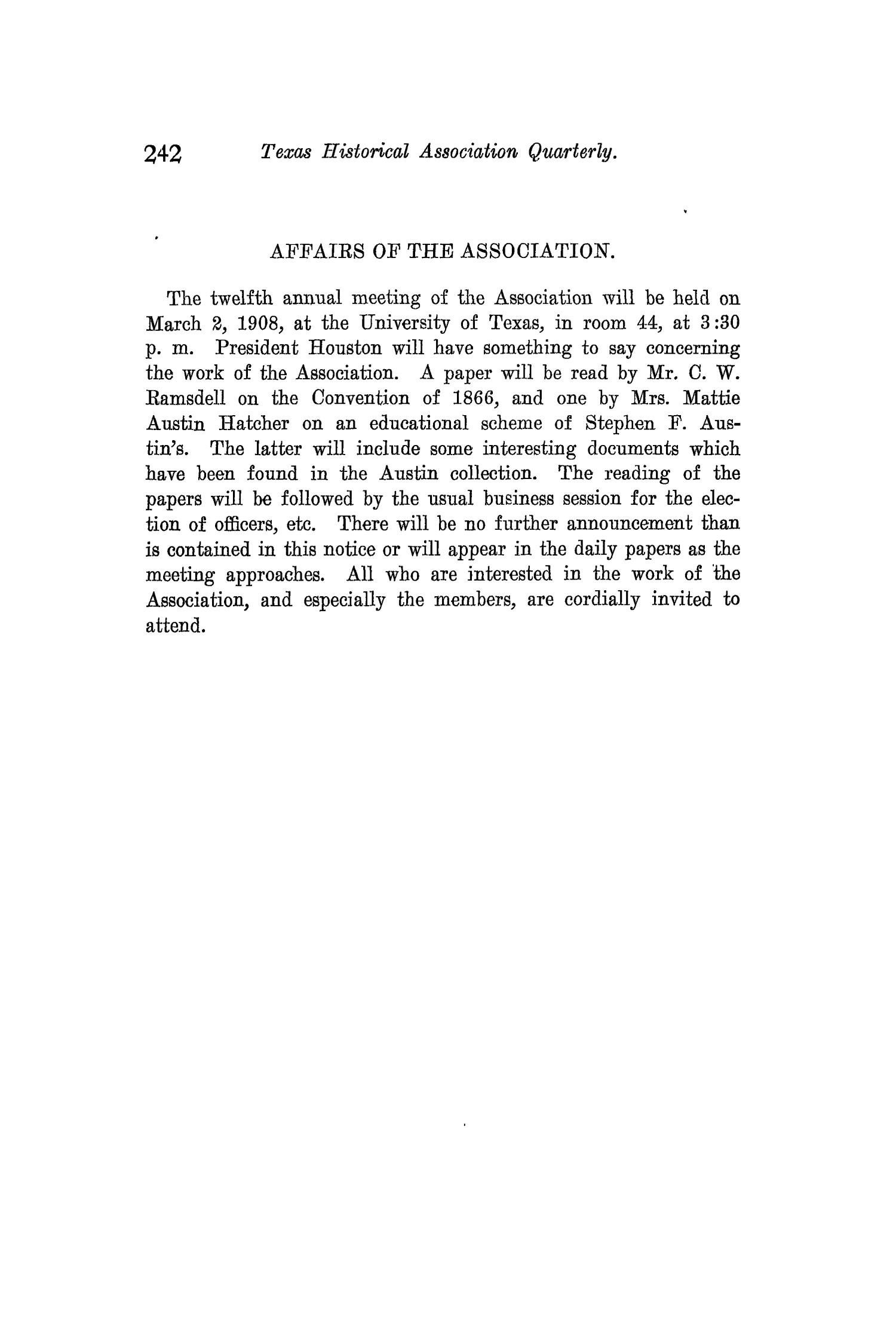 The Quarterly of the Texas State Historical Association, Volume 11, July 1907 - April, 1908                                                                                                      242