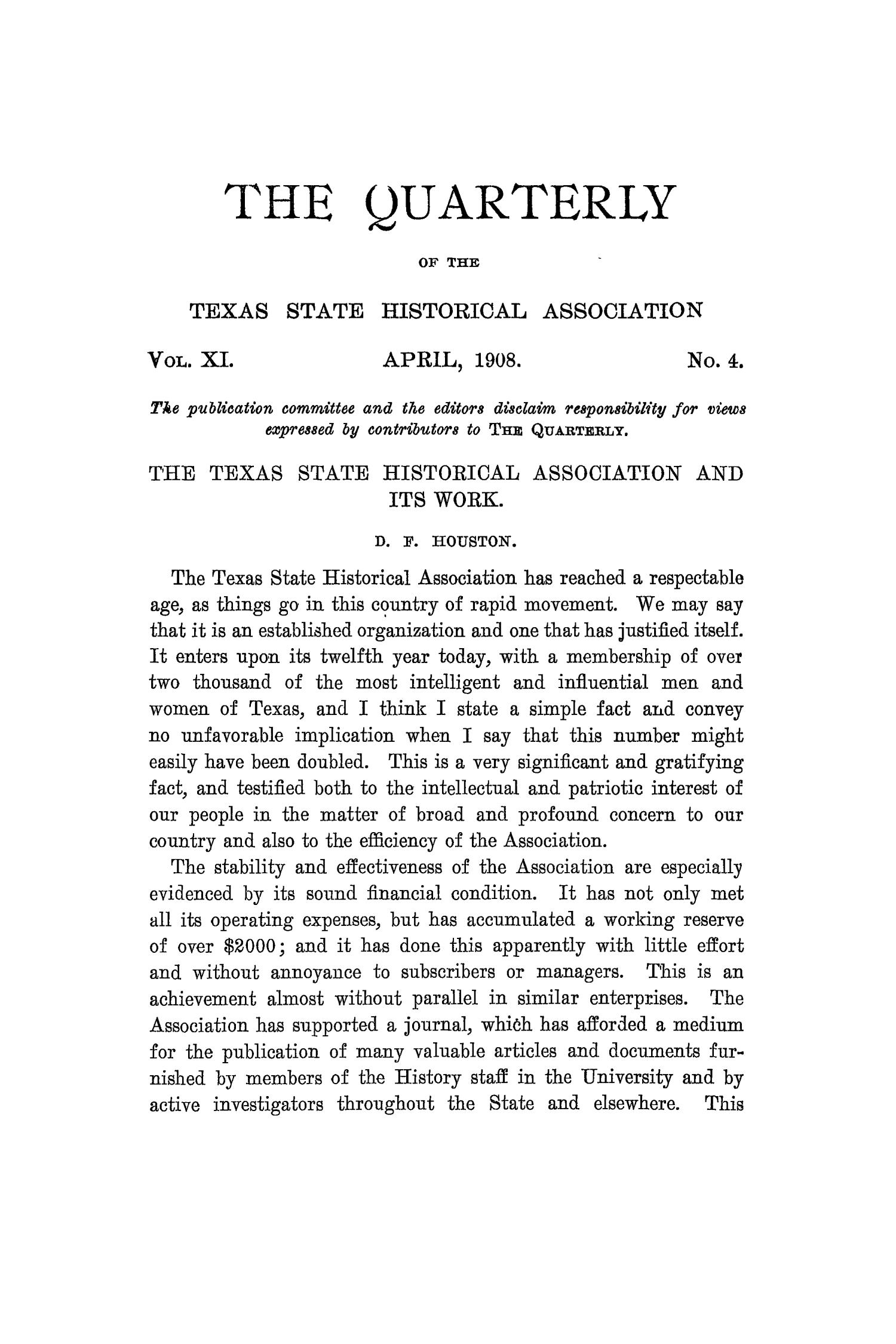 The Quarterly of the Texas State Historical Association, Volume 11, July 1907 - April, 1908                                                                                                      245