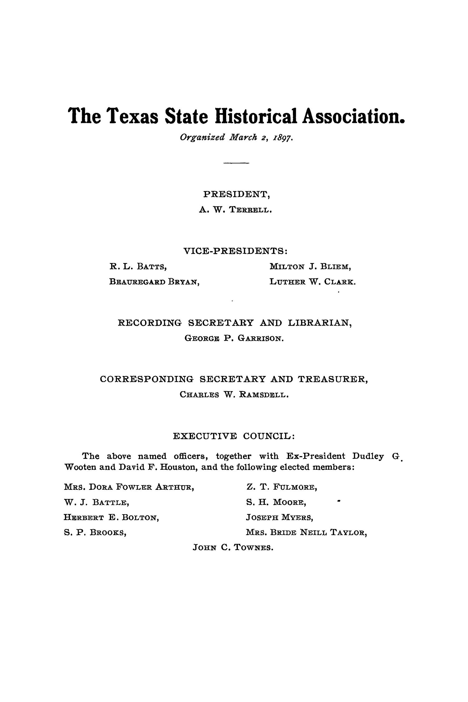 The Quarterly of the Texas State Historical Association, Volume 11, July 1907 - April, 1908                                                                                                      None