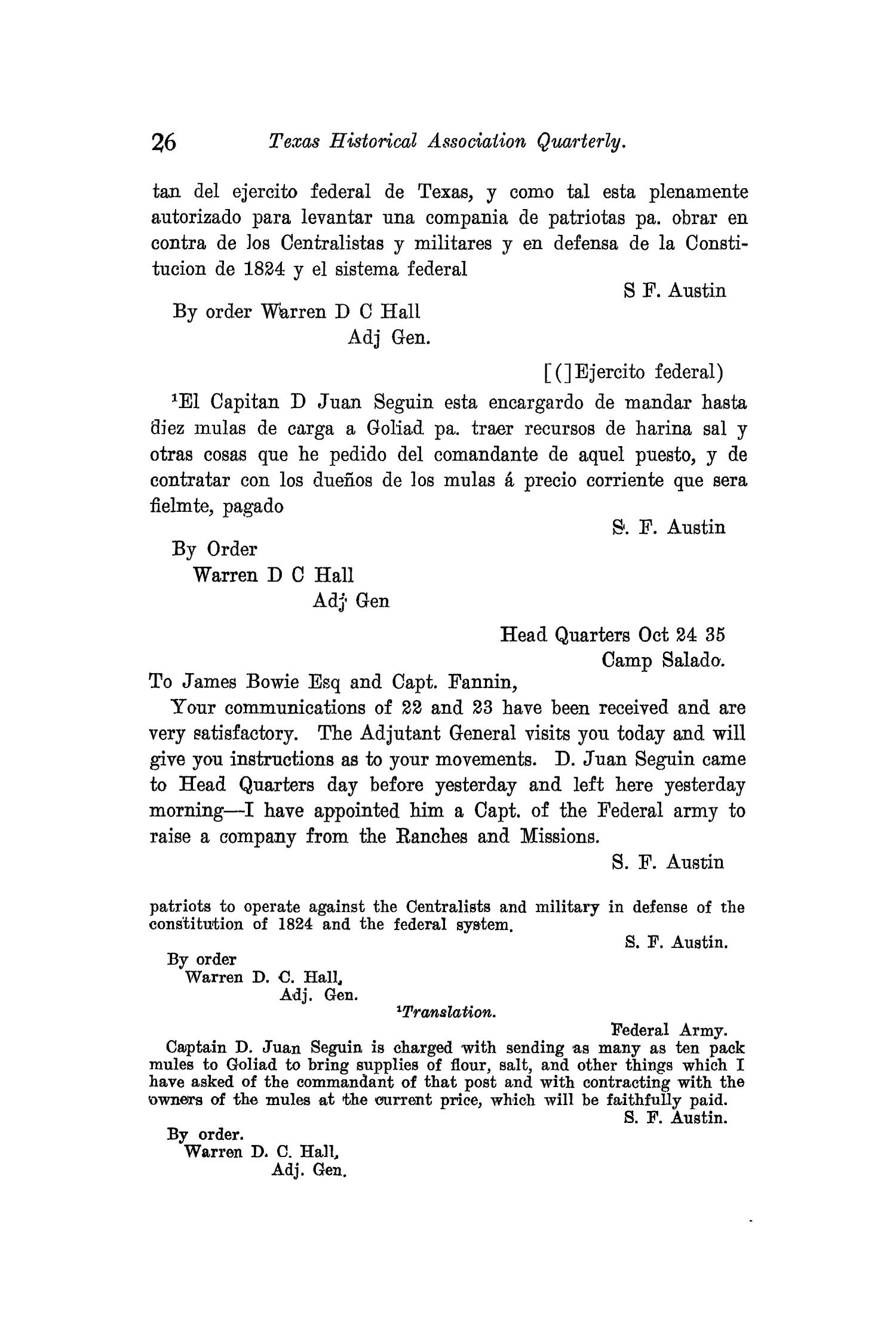 The Quarterly of the Texas State Historical Association, Volume 11, July 1907 - April, 1908                                                                                                      26