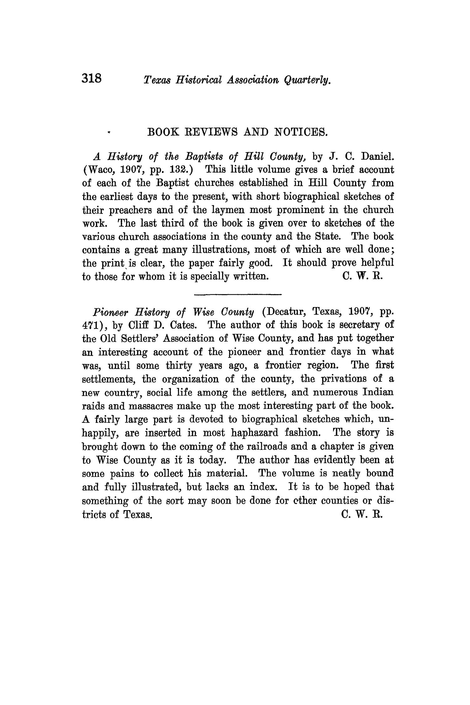 The Quarterly of the Texas State Historical Association, Volume 11, July 1907 - April, 1908                                                                                                      318