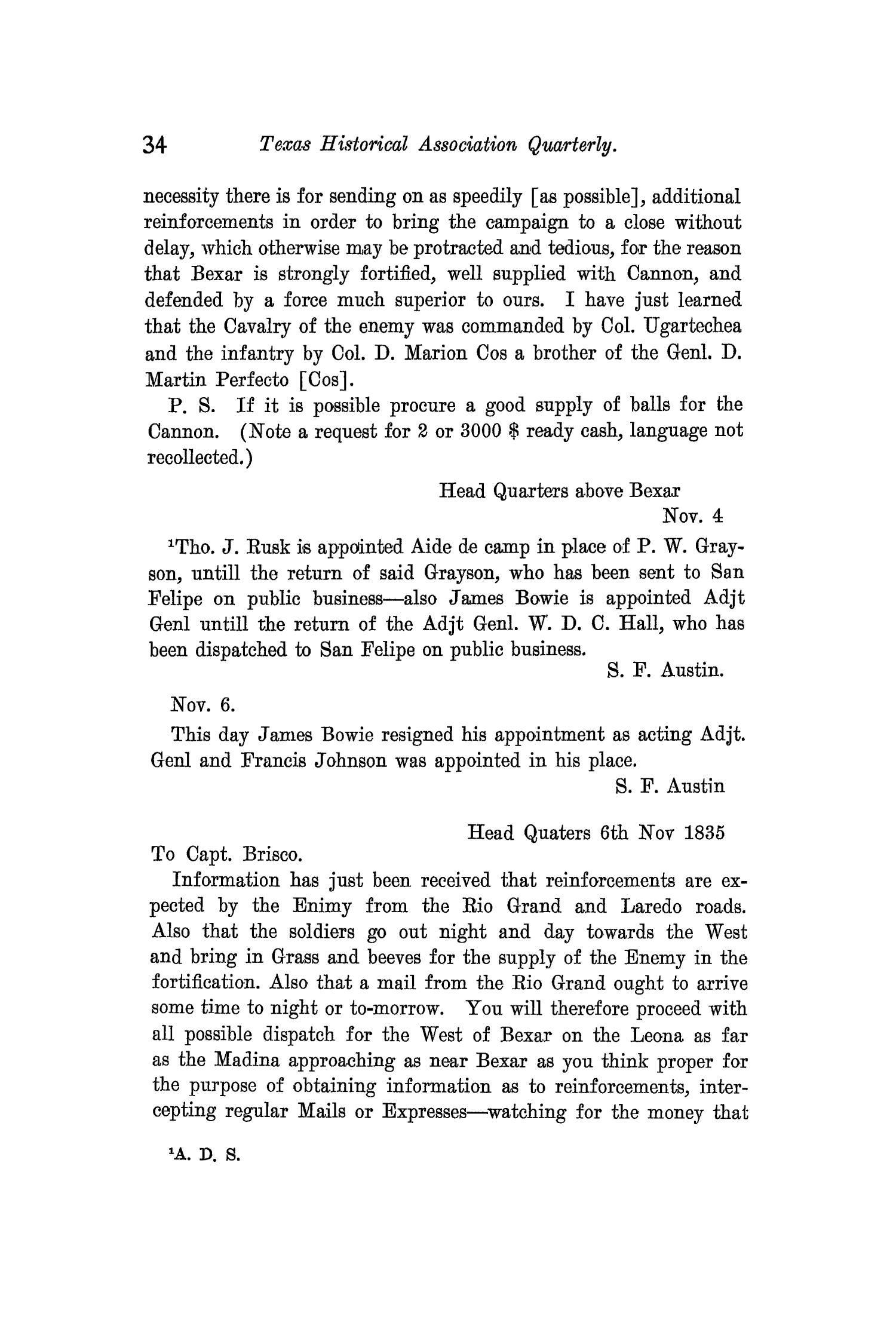 The Quarterly of the Texas State Historical Association, Volume 11, July 1907 - April, 1908                                                                                                      34