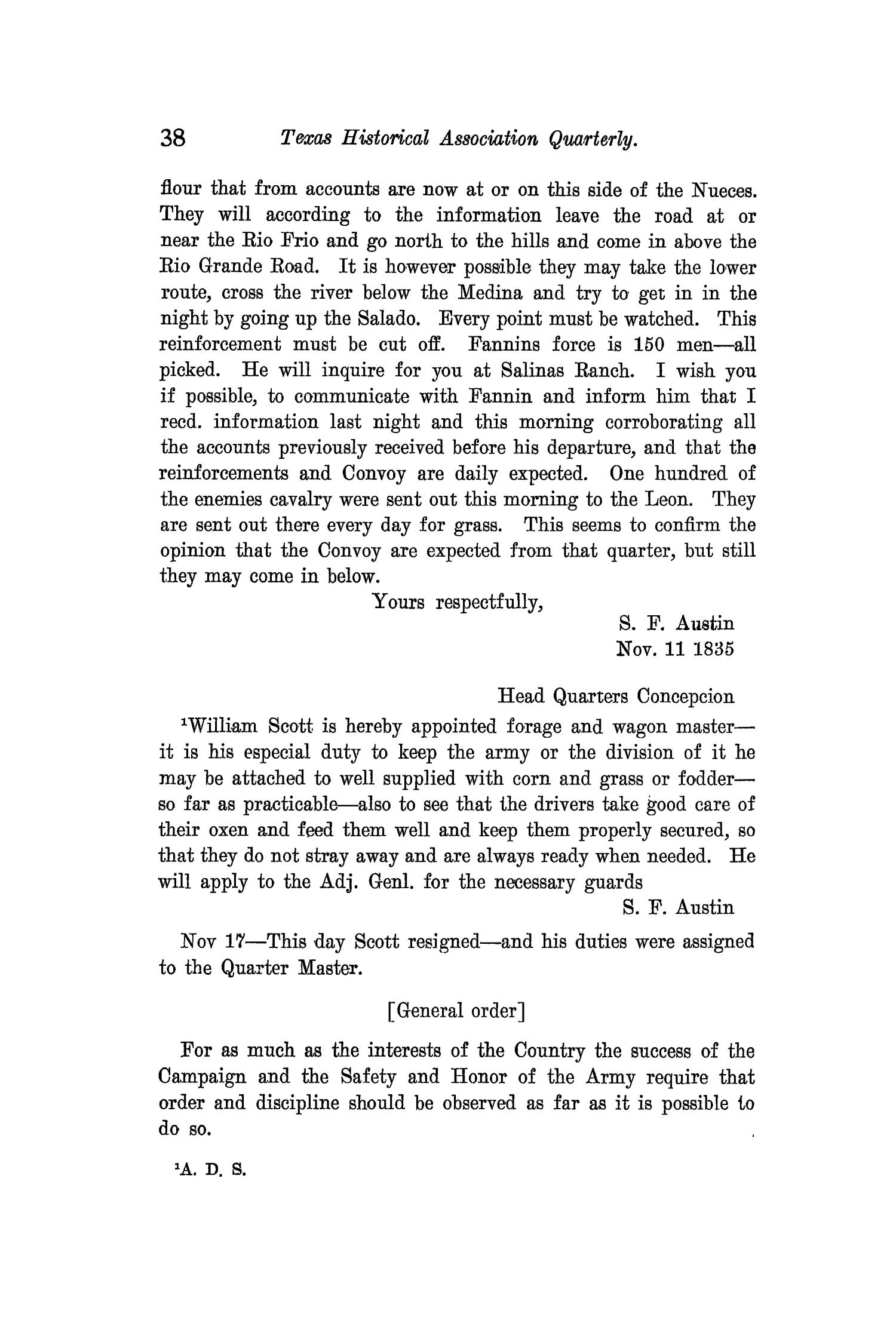 The Quarterly of the Texas State Historical Association, Volume 11, July 1907 - April, 1908                                                                                                      38