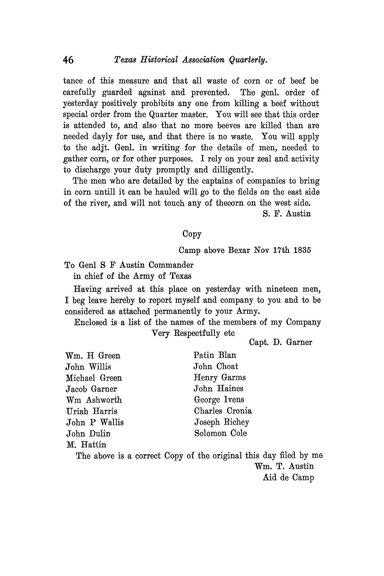 The Quarterly of the Texas State Historical Association, Volume 11, July 1907 - April, 1908                                                                                                      46