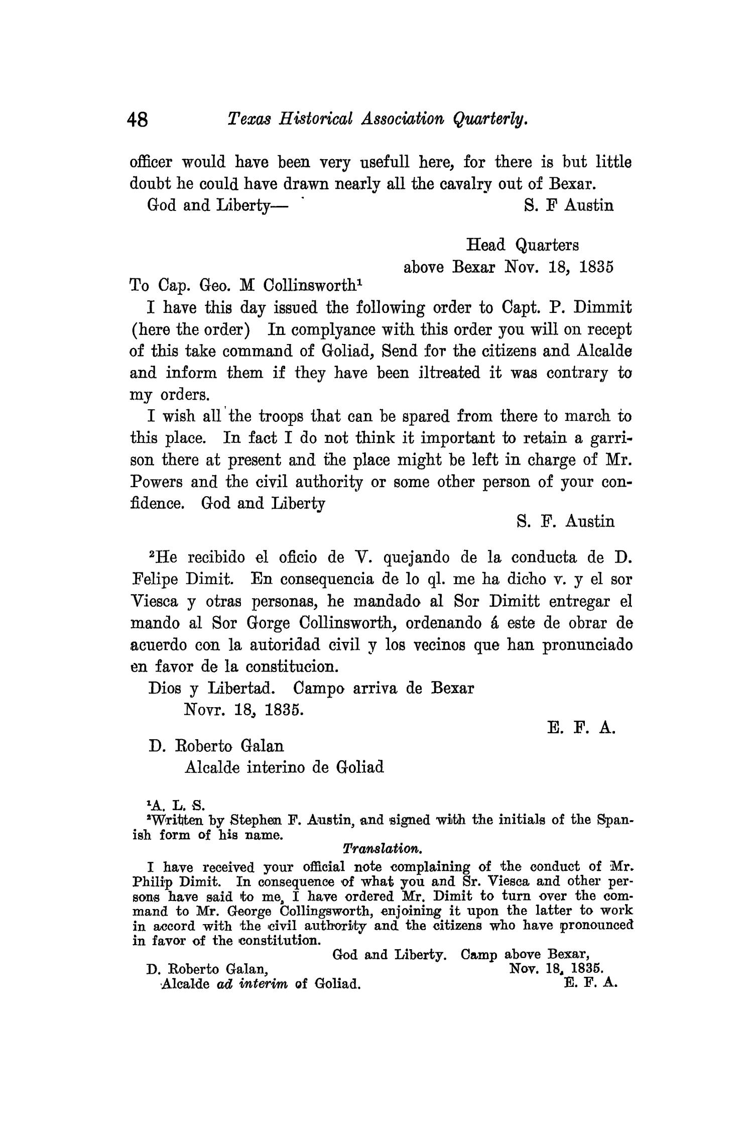 The Quarterly of the Texas State Historical Association, Volume 11, July 1907 - April, 1908                                                                                                      48
