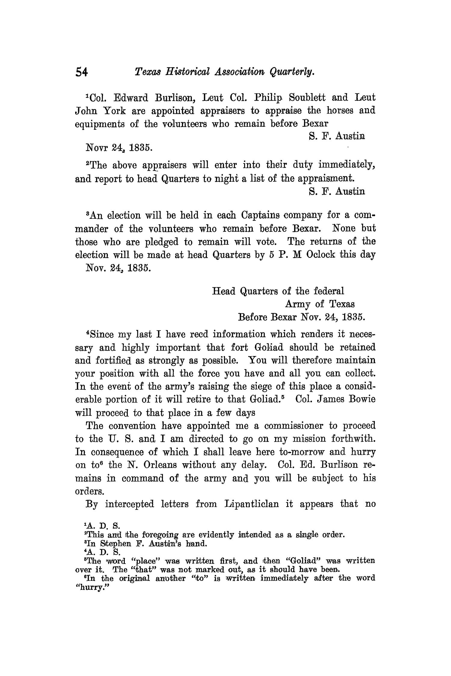 The Quarterly of the Texas State Historical Association, Volume 11, July 1907 - April, 1908                                                                                                      54