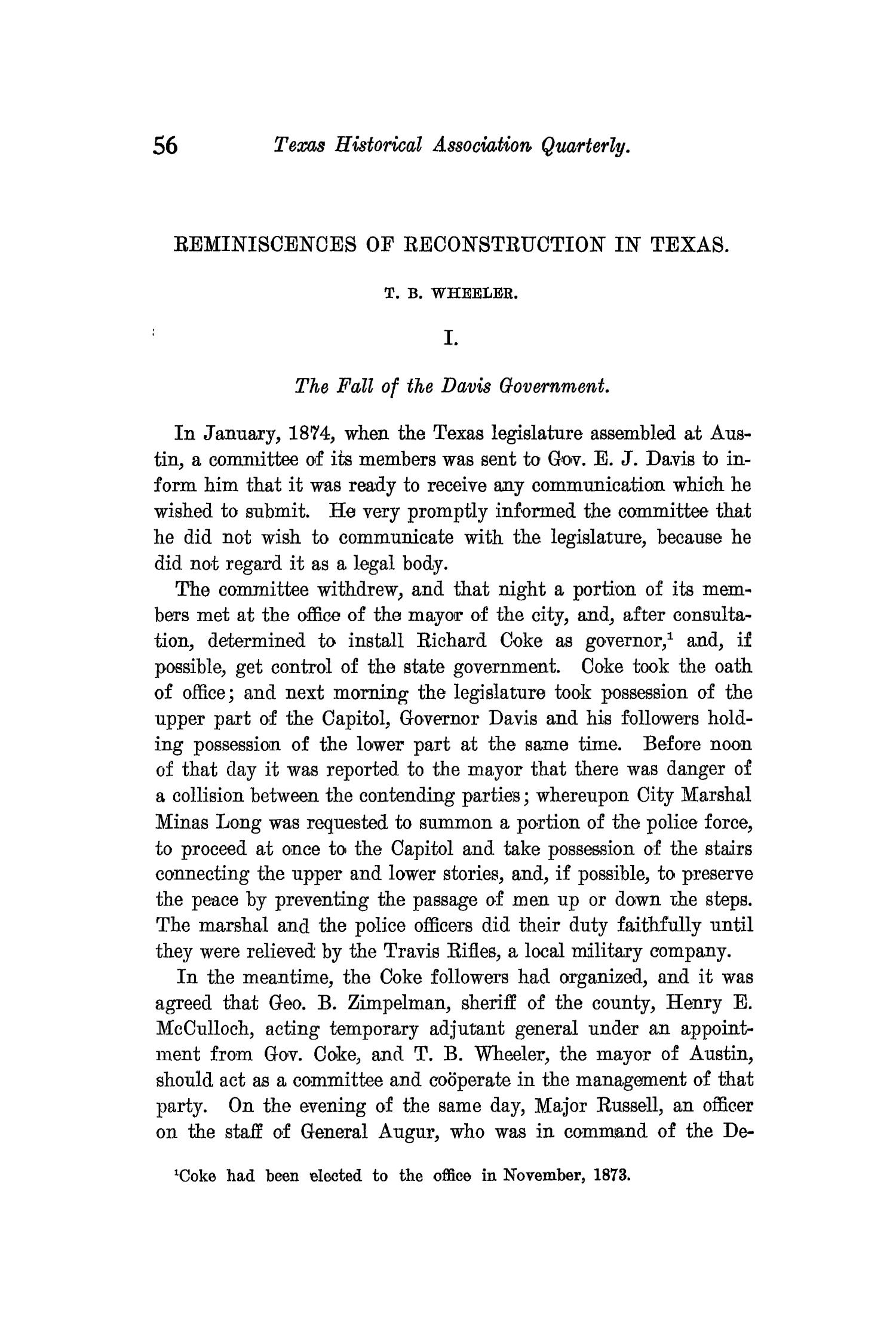 The Quarterly of the Texas State Historical Association, Volume 11, July 1907 - April, 1908                                                                                                      56