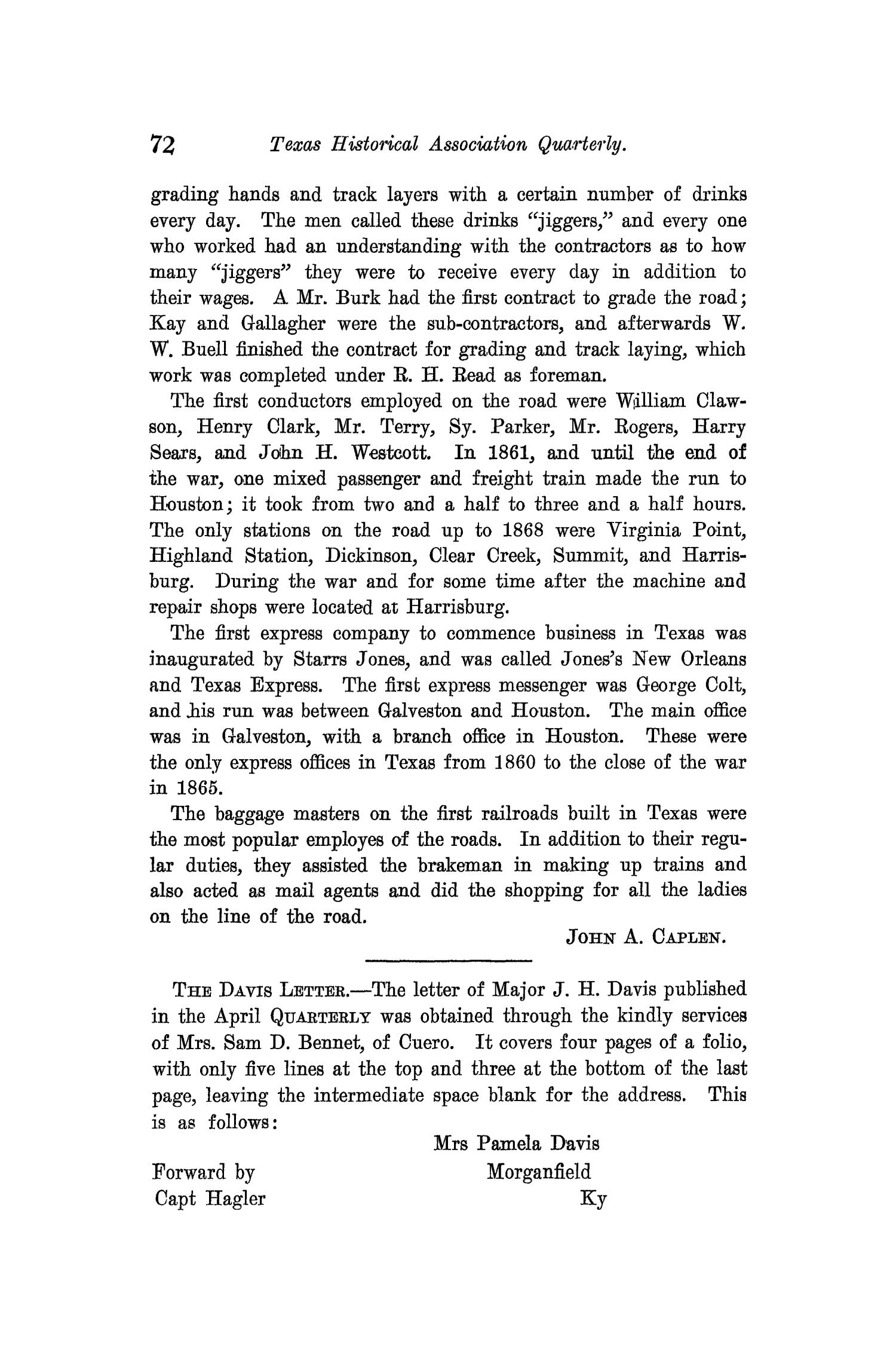 The Quarterly of the Texas State Historical Association, Volume 11, July 1907 - April, 1908                                                                                                      72