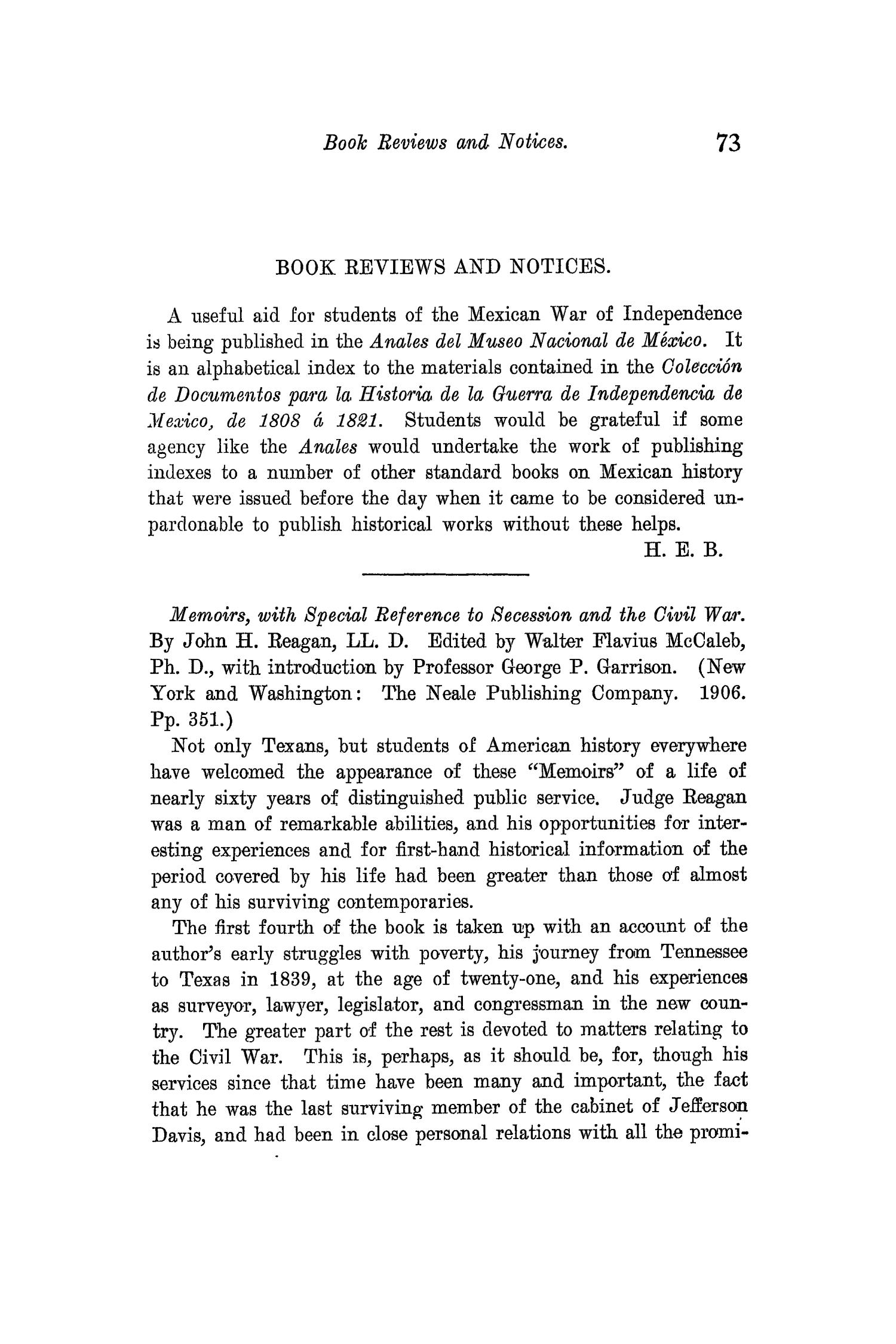 The Quarterly of the Texas State Historical Association, Volume 11, July 1907 - April, 1908                                                                                                      73