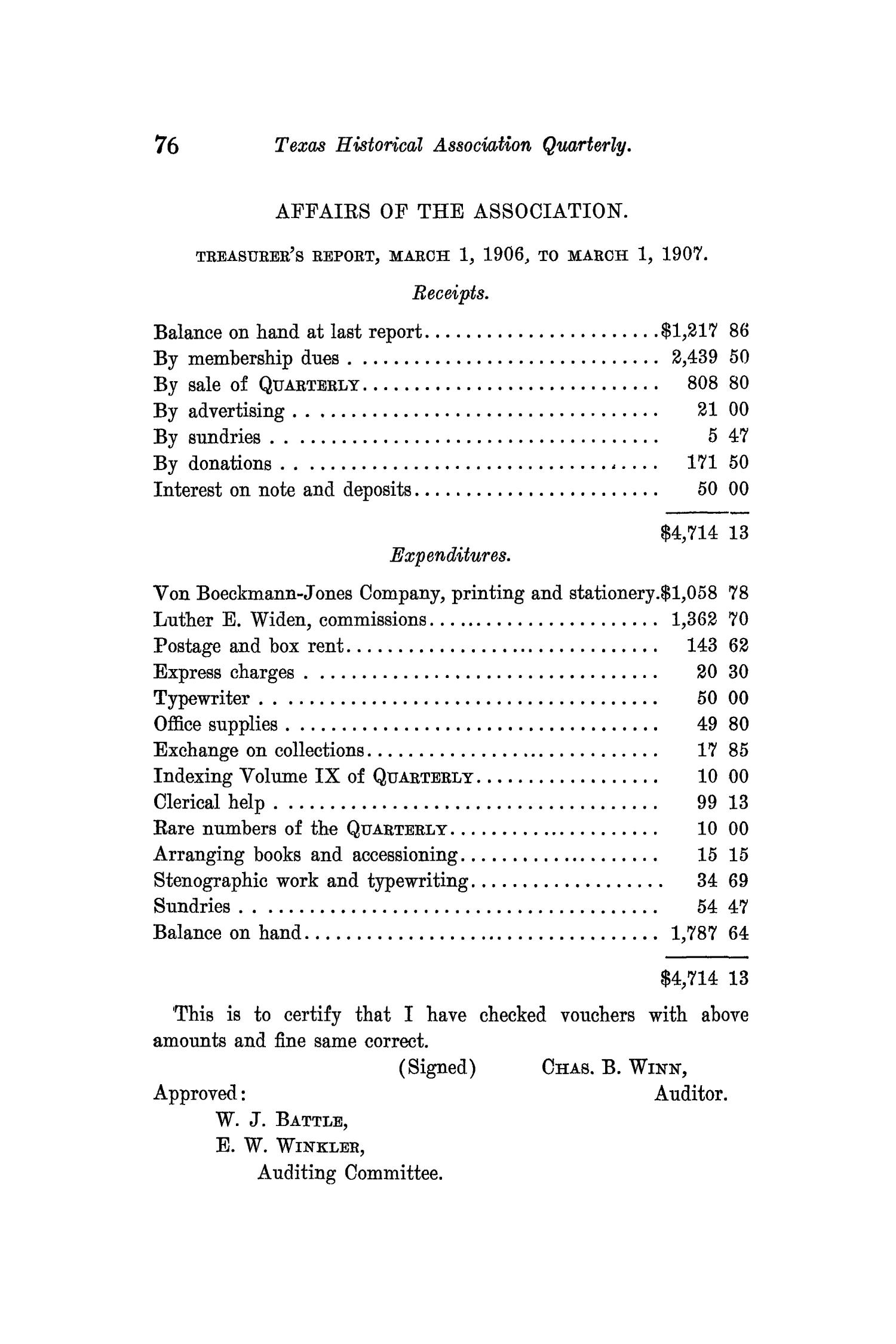 The Quarterly of the Texas State Historical Association, Volume 11, July 1907 - April, 1908                                                                                                      76