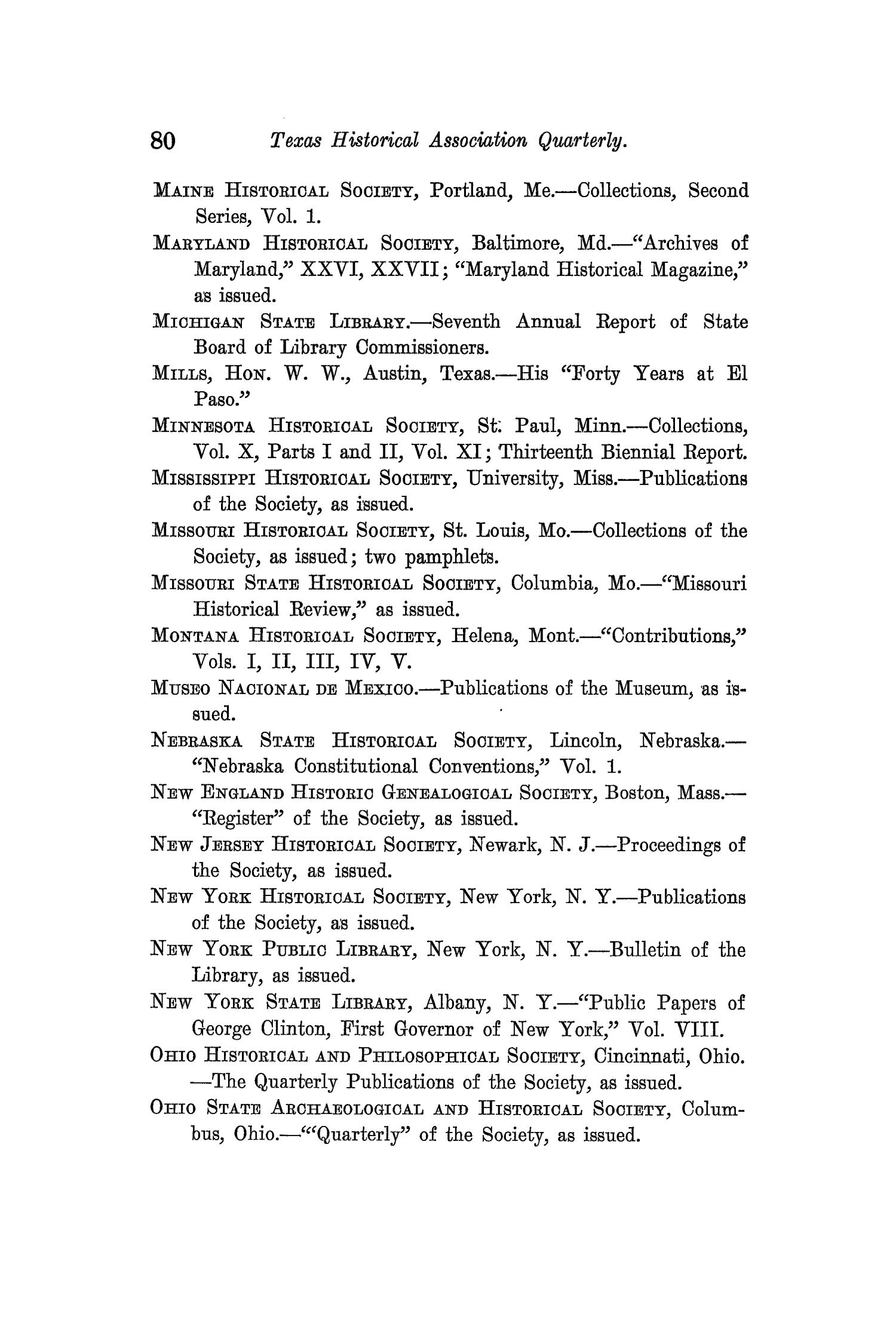 The Quarterly of the Texas State Historical Association, Volume 11, July 1907 - April, 1908                                                                                                      80