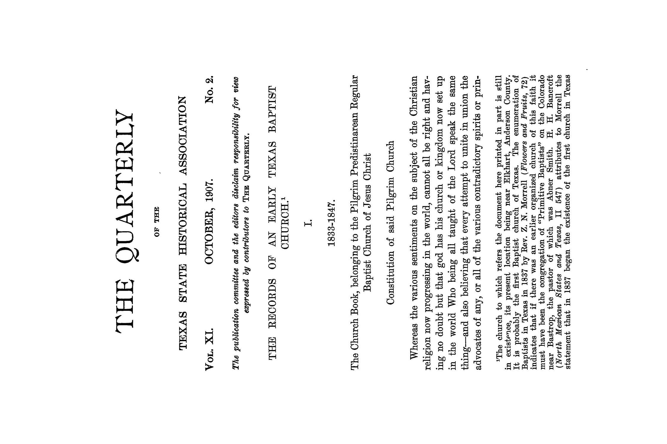 The Quarterly of the Texas State Historical Association, Volume 11, July 1907 - April, 1908                                                                                                      85