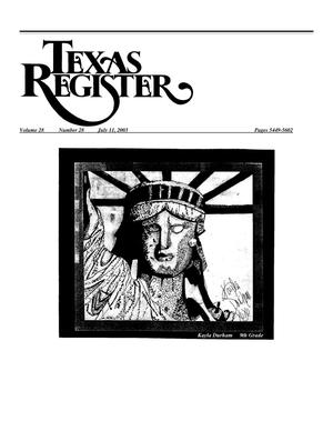 Primary view of object titled 'Texas Register, Volume 28, Number 28, Pages 5449-5602, July 11, 2003'.