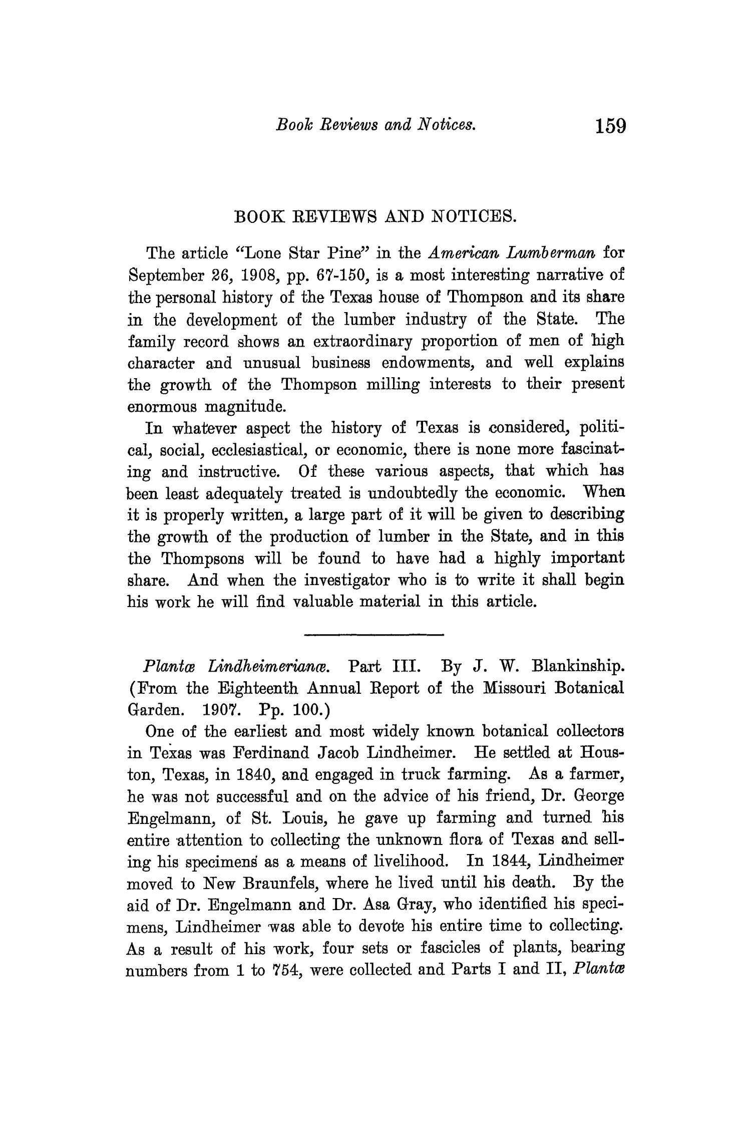 The Quarterly of the Texas State Historical Association, Volume 12, July 1908 - April, 1909                                                                                                      159
