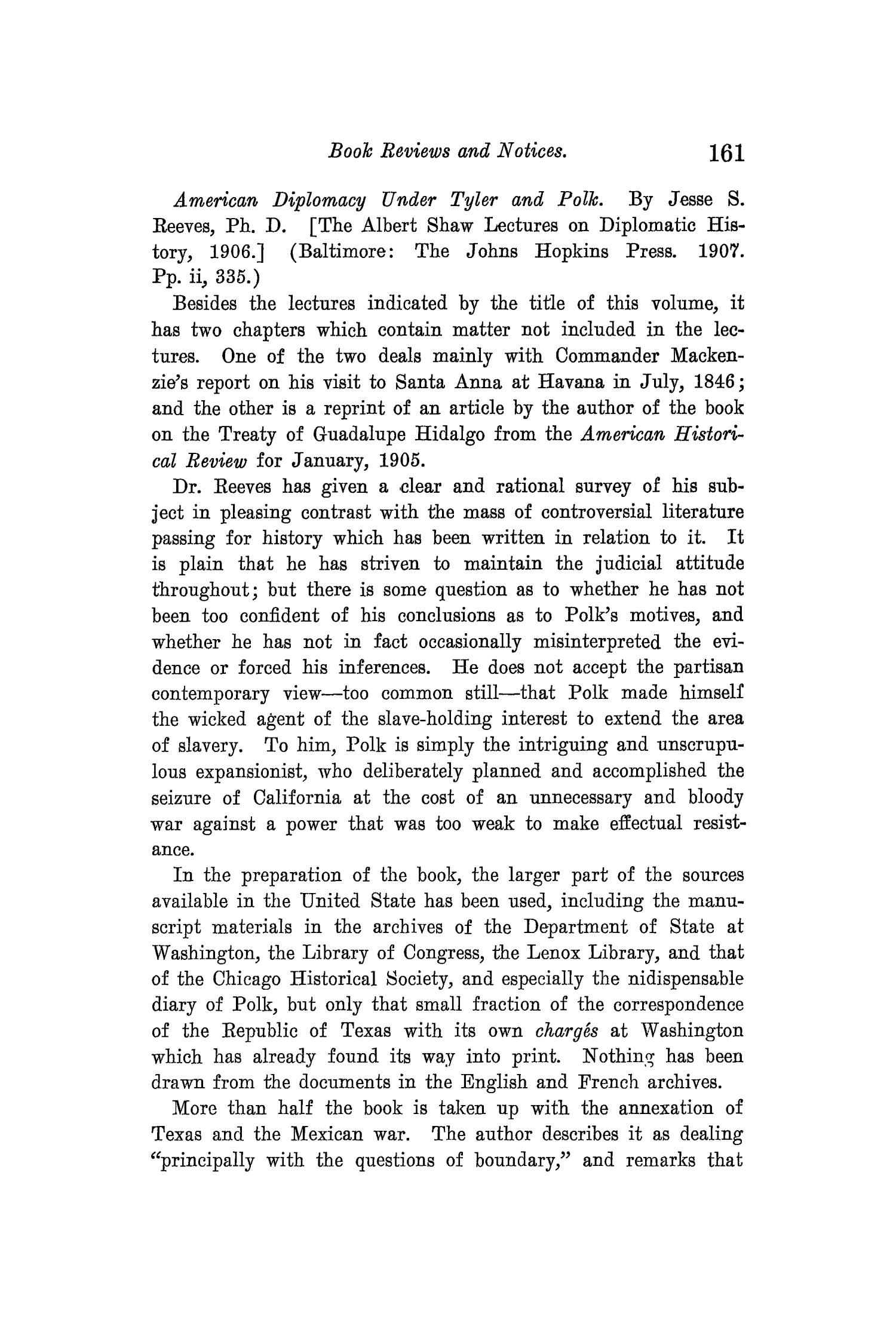 The Quarterly of the Texas State Historical Association, Volume 12, July 1908 - April, 1909                                                                                                      161