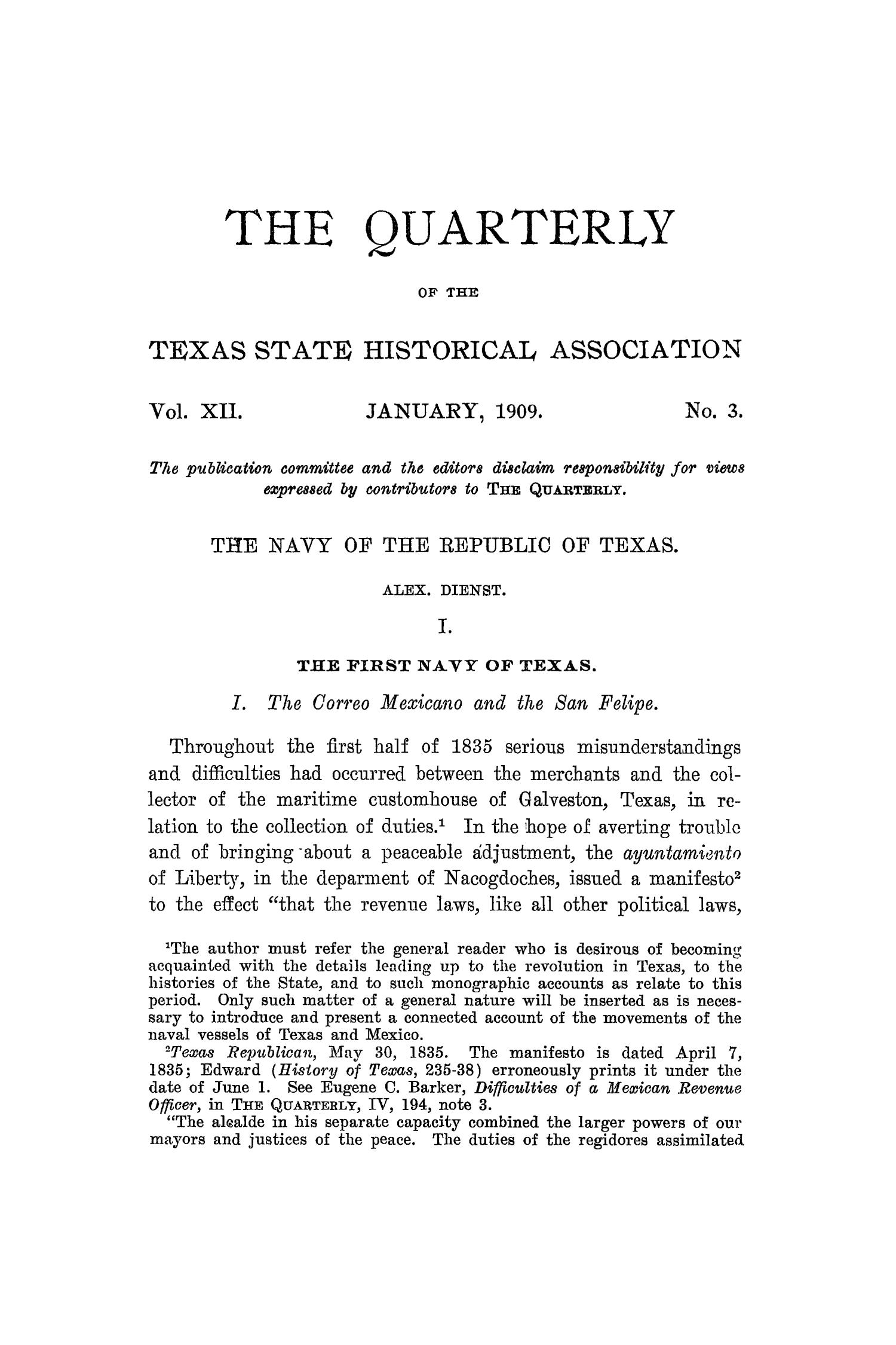 The Quarterly of the Texas State Historical Association, Volume 12, July 1908 - April, 1909                                                                                                      165