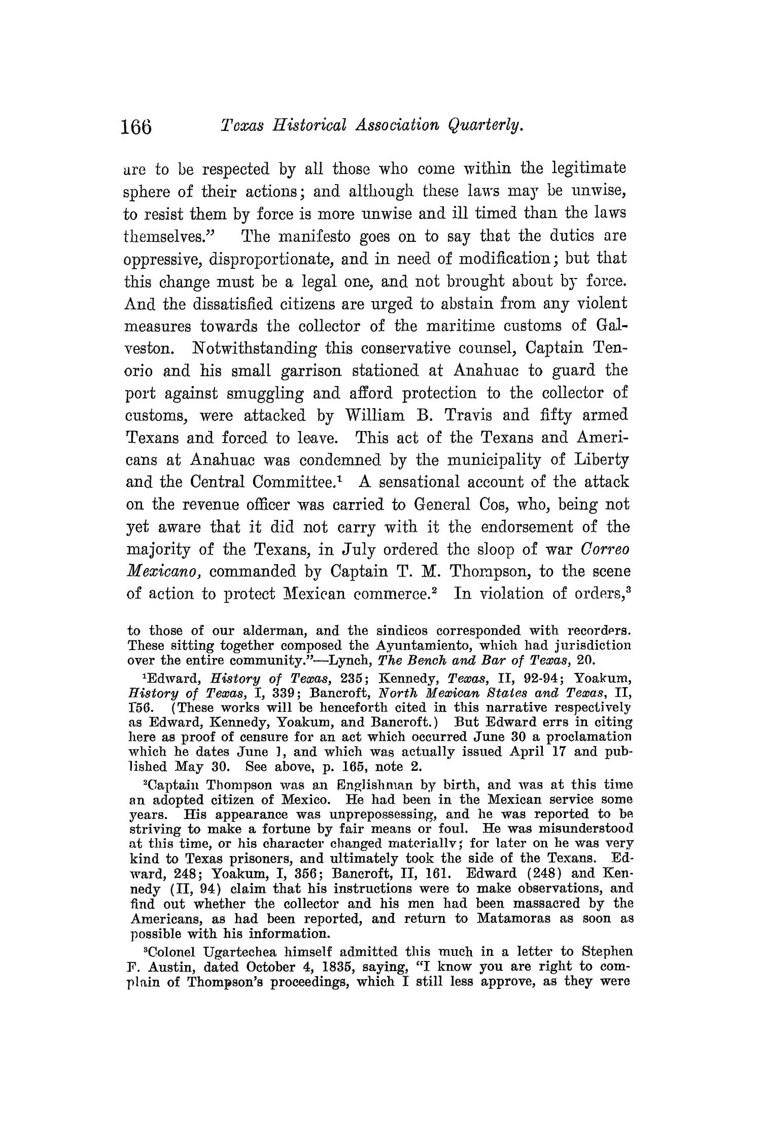 The Quarterly of the Texas State Historical Association, Volume 12, July 1908 - April, 1909                                                                                                      166