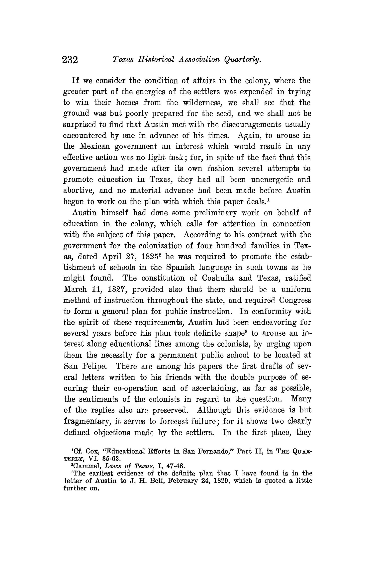 The Quarterly of the Texas State Historical Association, Volume 12, July 1908 - April, 1909                                                                                                      232