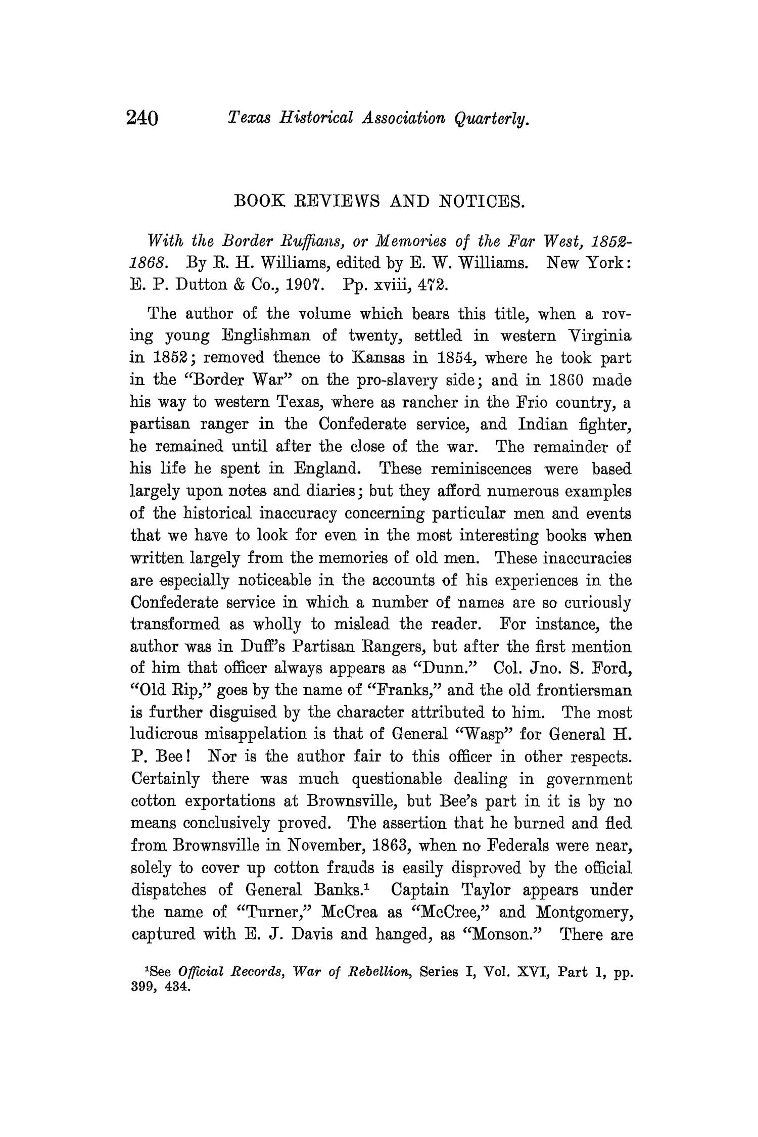 The Quarterly of the Texas State Historical Association, Volume 12, July 1908 - April, 1909                                                                                                      240