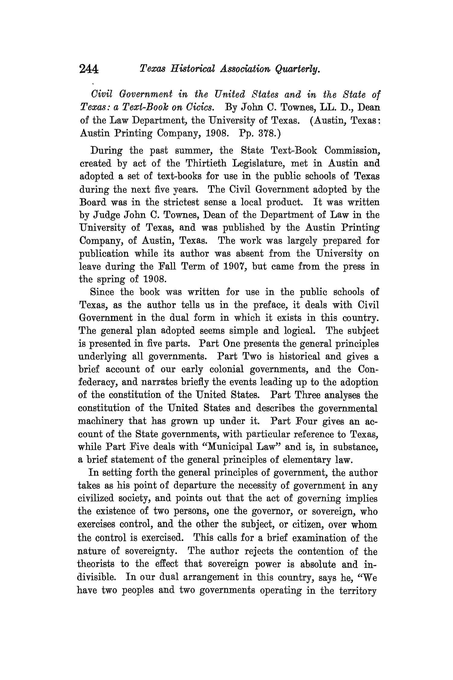 The Quarterly of the Texas State Historical Association, Volume 12, July 1908 - April, 1909                                                                                                      244