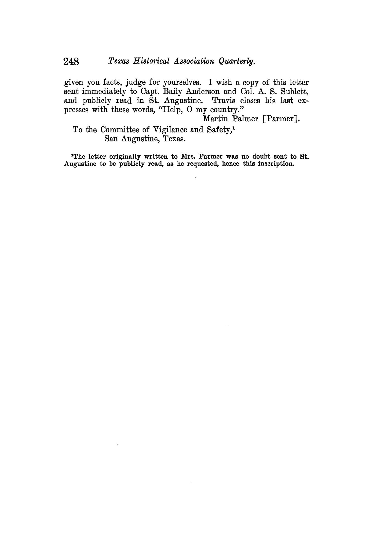 The Quarterly of the Texas State Historical Association, Volume 12, July 1908 - April, 1909                                                                                                      248