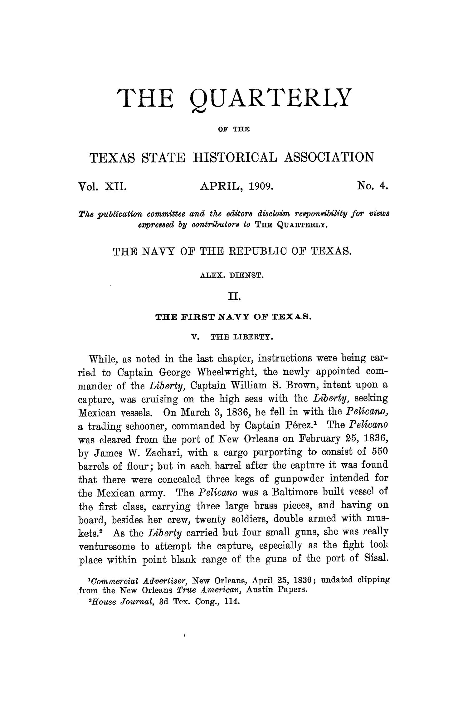 The Quarterly of the Texas State Historical Association, Volume 12, July 1908 - April, 1909                                                                                                      249
