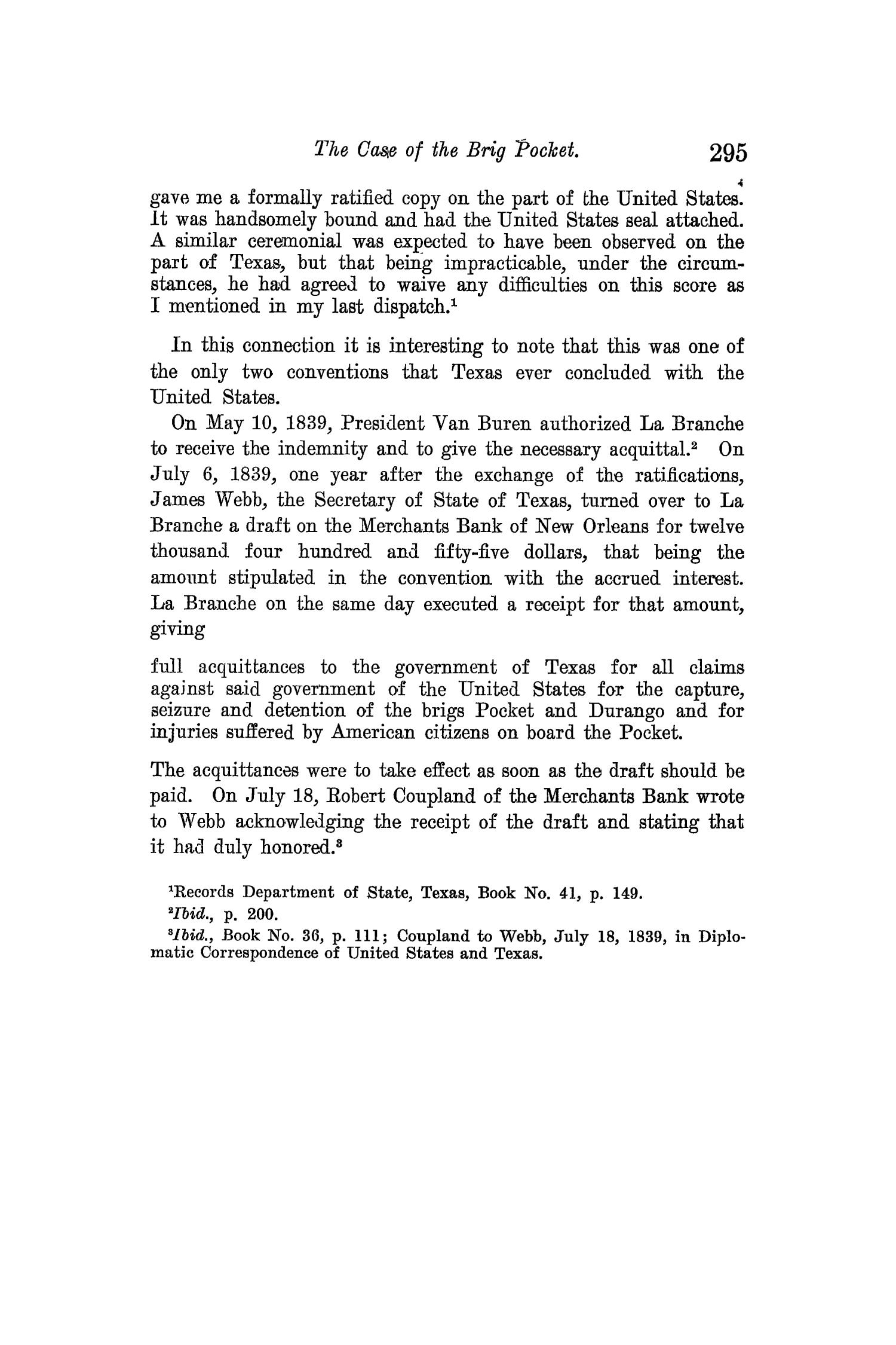 The Quarterly of the Texas State Historical Association, Volume 12, July 1908 - April, 1909                                                                                                      295